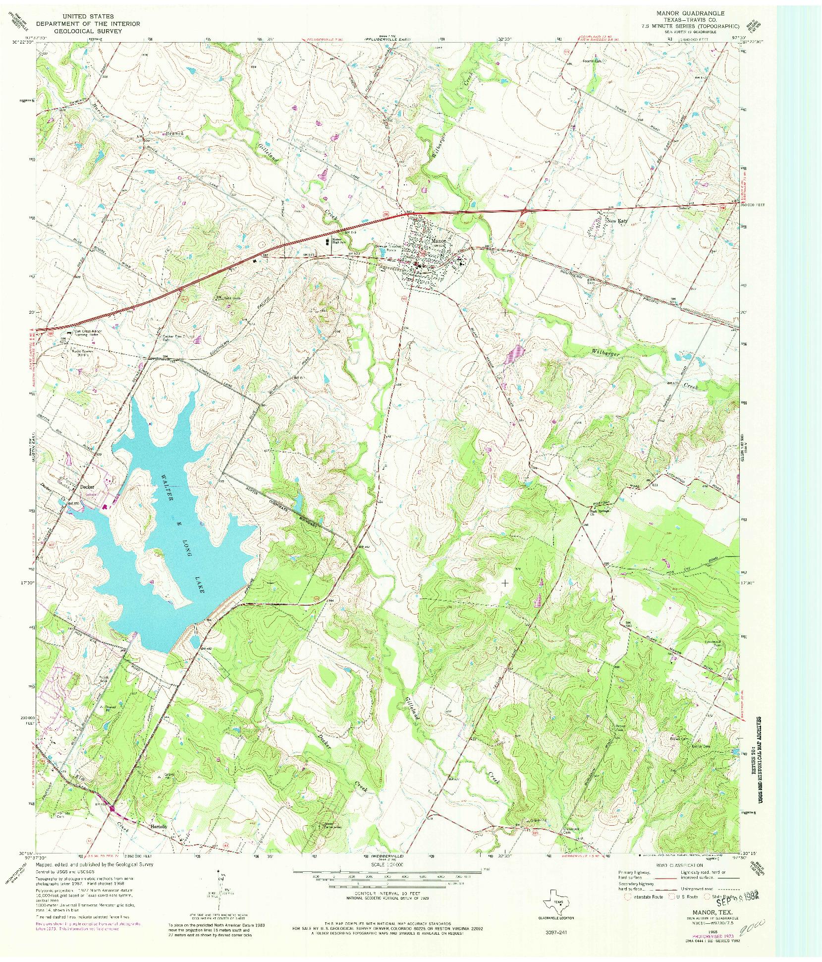 USGS 1:24000-SCALE QUADRANGLE FOR MANOR, TX 1968