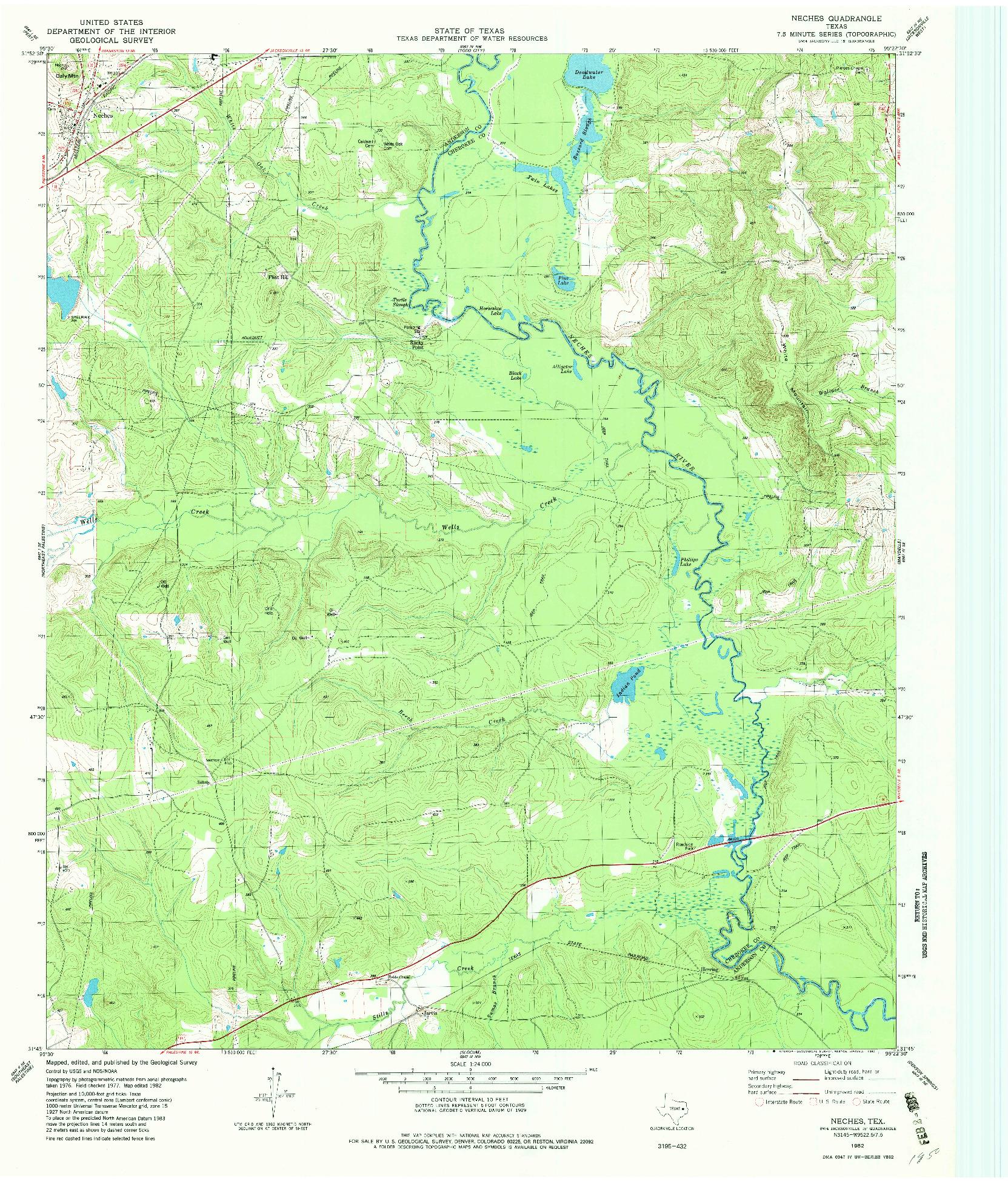 USGS 1:24000-SCALE QUADRANGLE FOR NECHES, TX 1982
