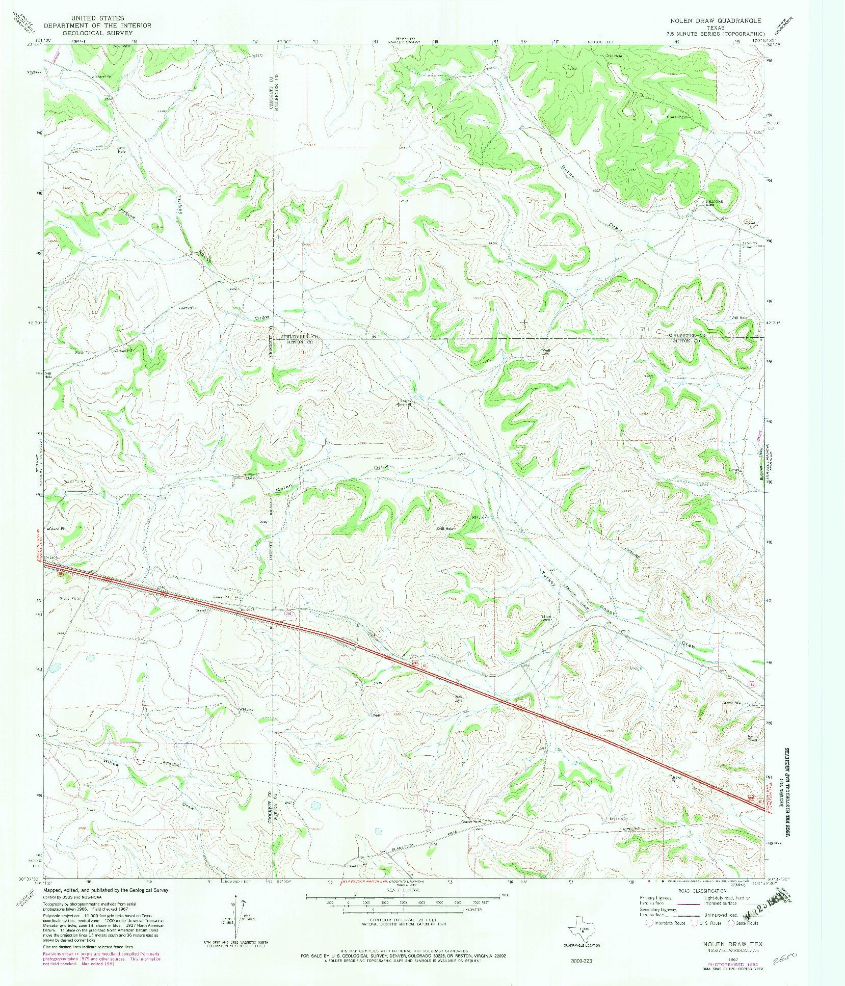 USGS 1:24000-SCALE QUADRANGLE FOR NOLEN DRAW, TX 1967