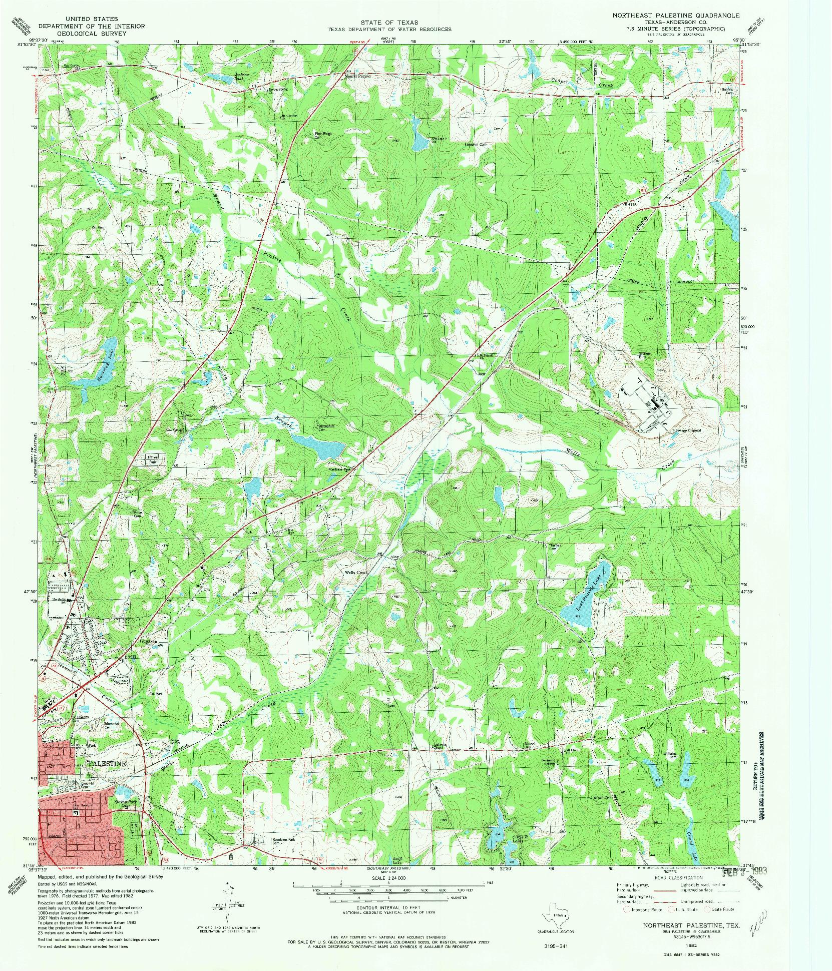 USGS 1:24000-SCALE QUADRANGLE FOR NORTHEAST PALESTINE, TX 1982