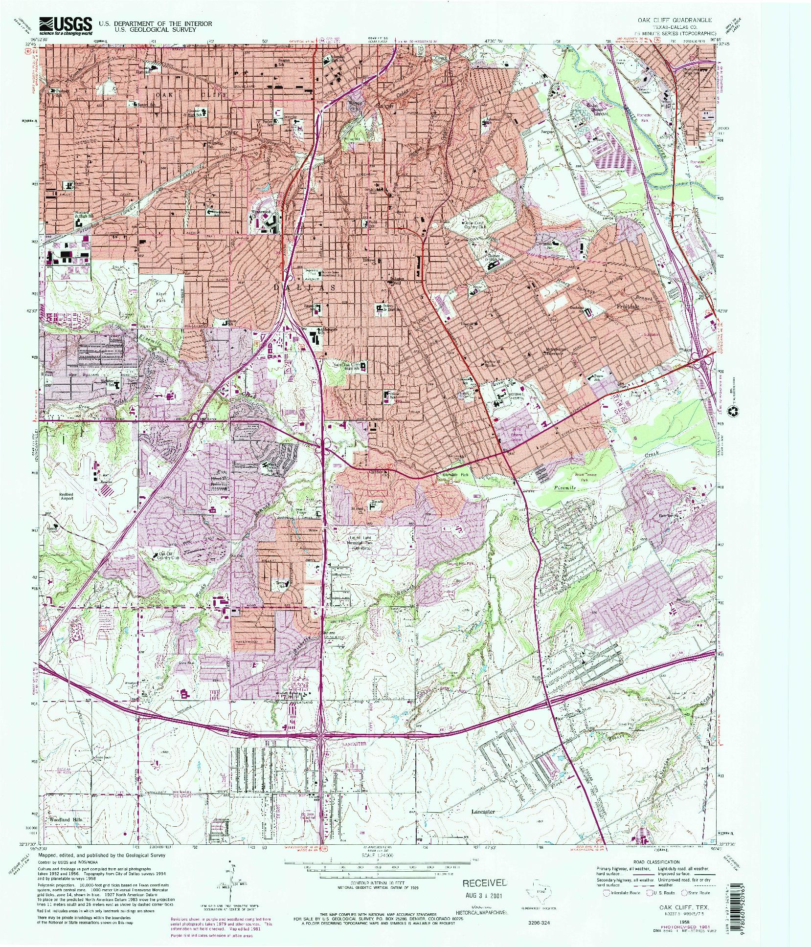 USGS 1:24000-SCALE QUADRANGLE FOR OAK CLIFF, TX 1958
