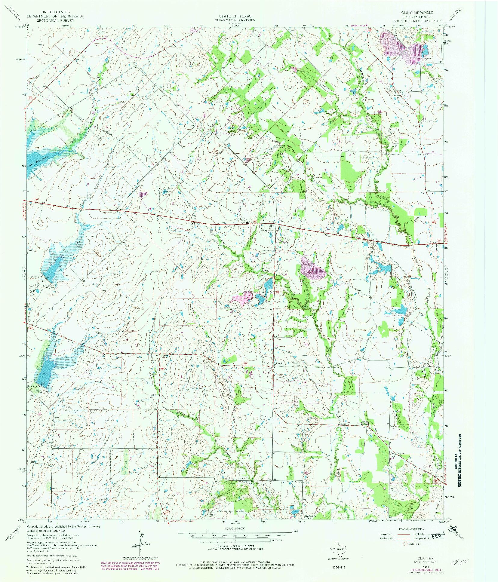 USGS 1:24000-SCALE QUADRANGLE FOR OLA, TX 1962