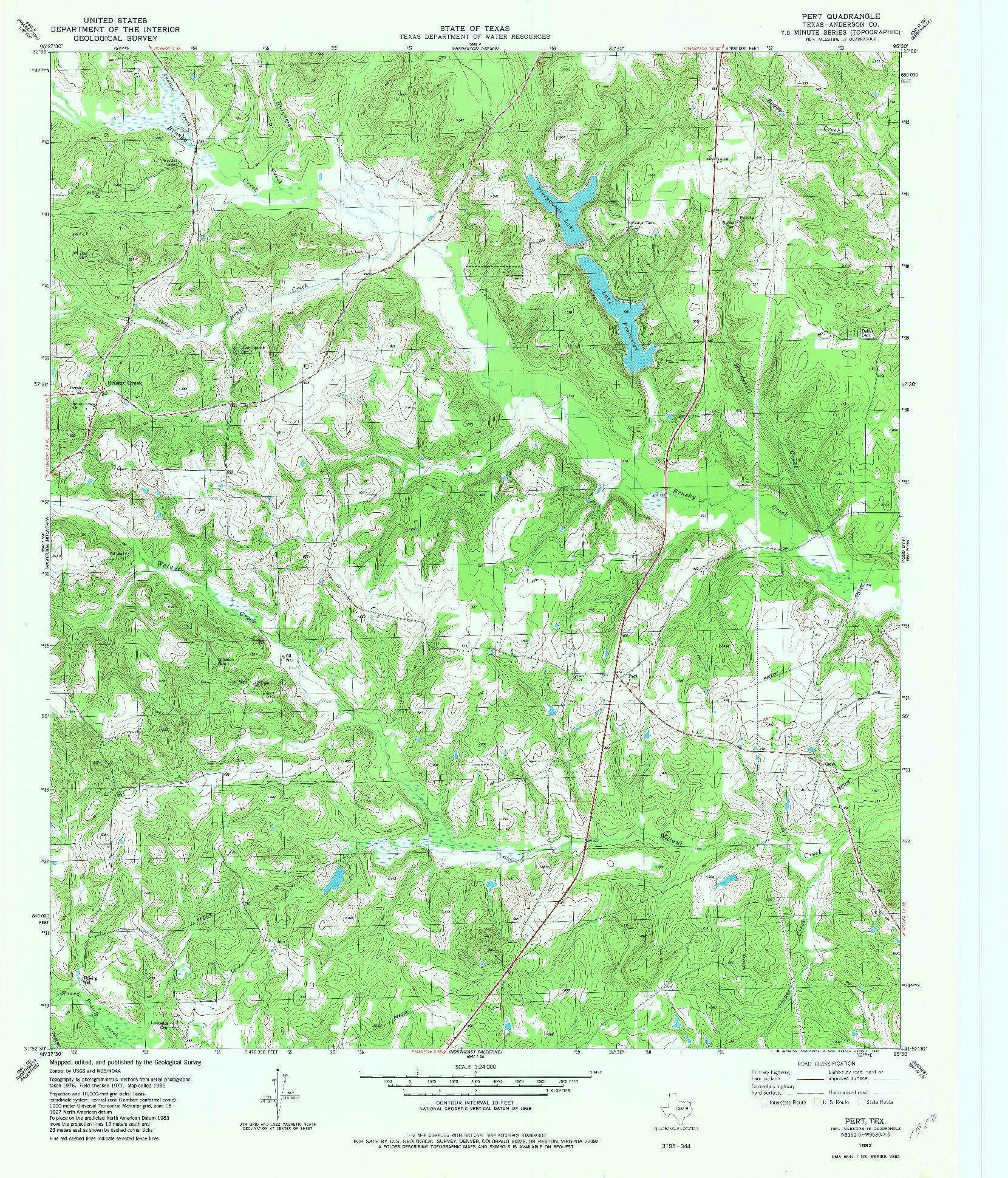 USGS 1:24000-SCALE QUADRANGLE FOR PERT, TX 1982