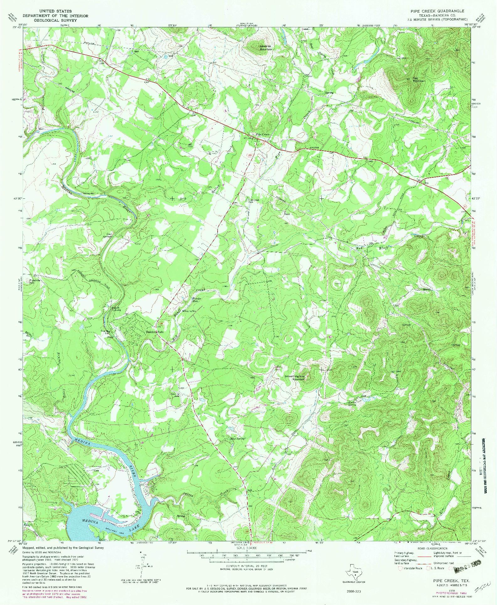 USGS 1:24000-SCALE QUADRANGLE FOR PIPE CREEK, TX 1970