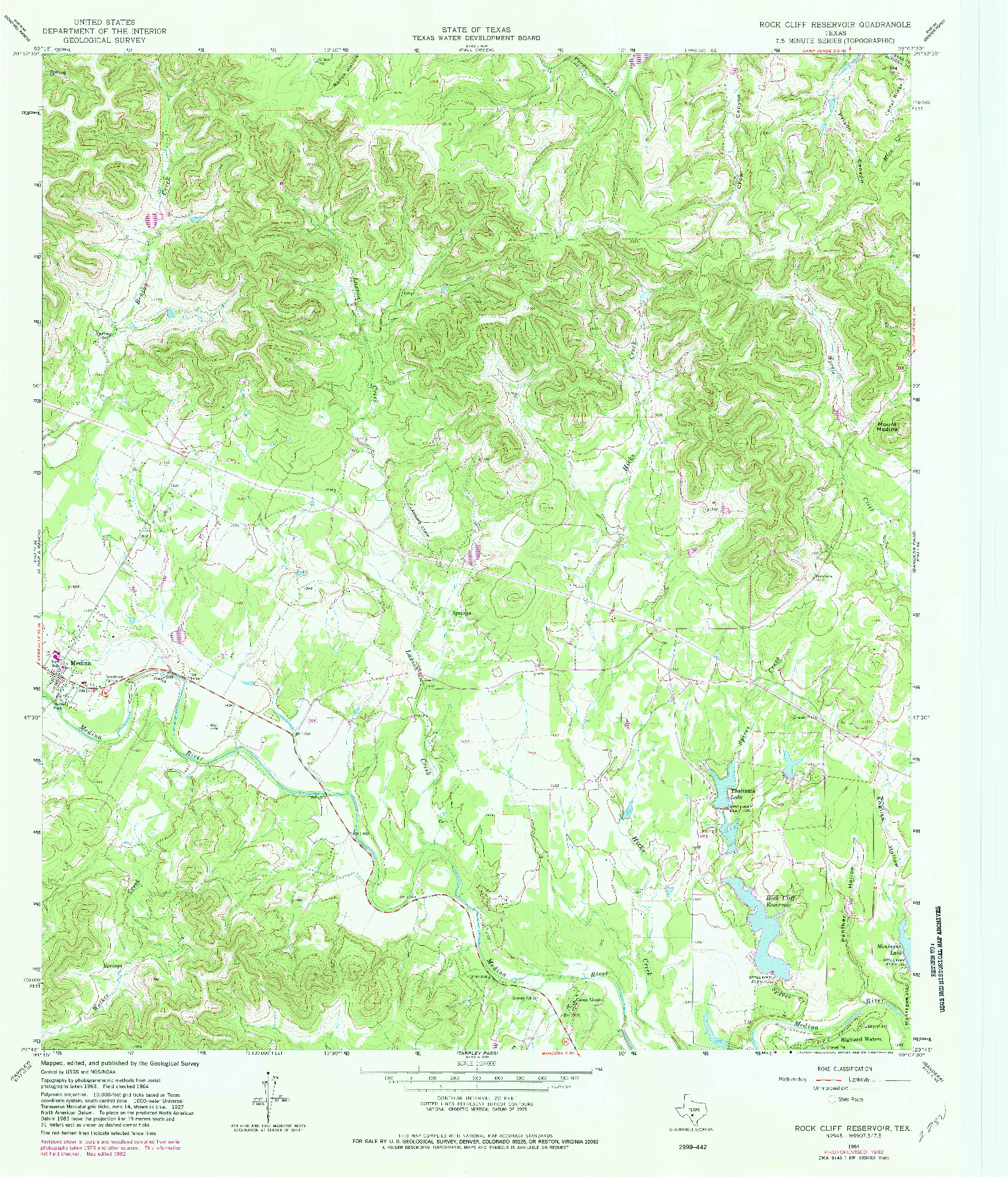 USGS 1:24000-SCALE QUADRANGLE FOR ROCK CLIFF RESERVOIR, TX 1964