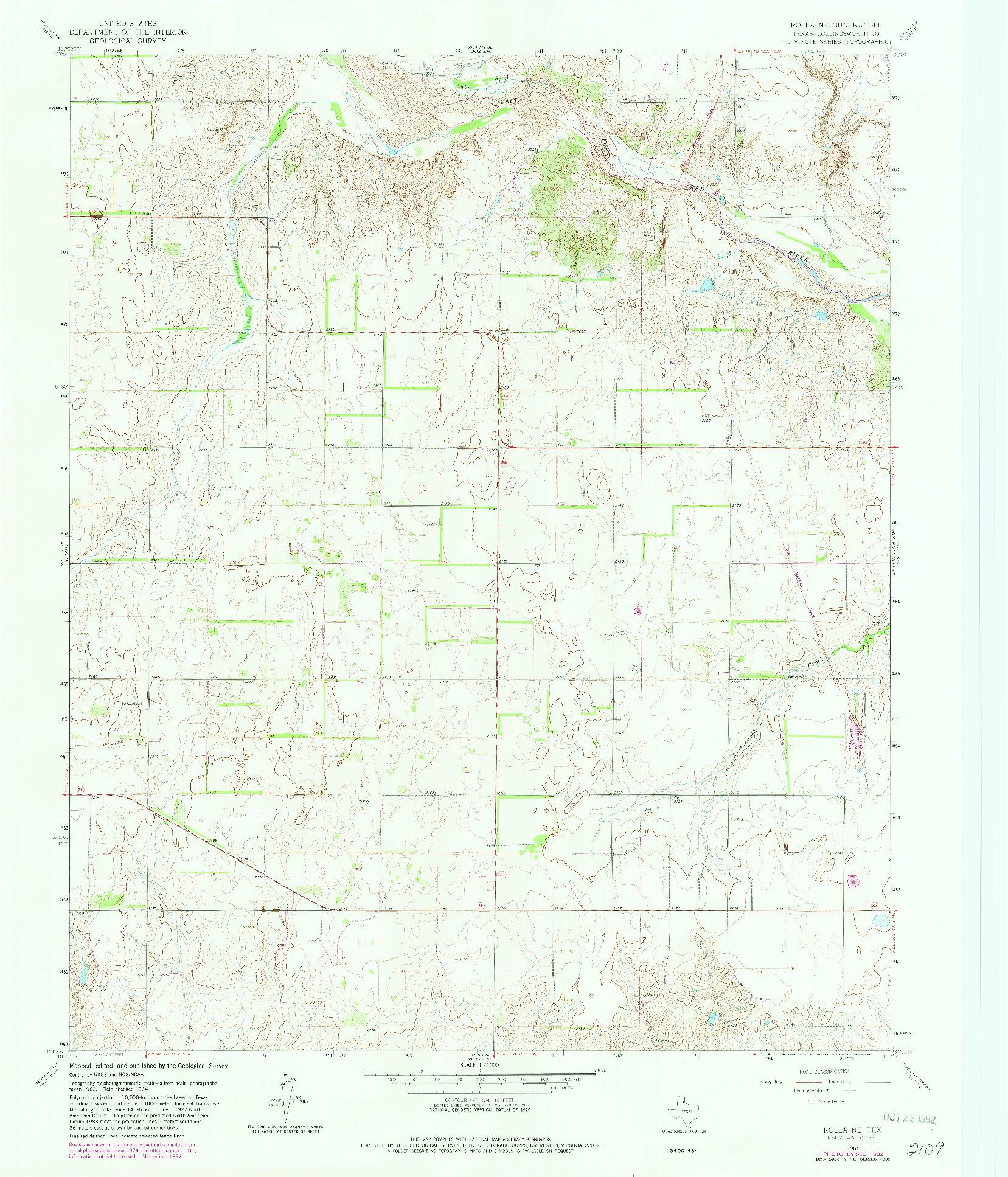 USGS 1:24000-SCALE QUADRANGLE FOR ROLLA NE, TX 1964