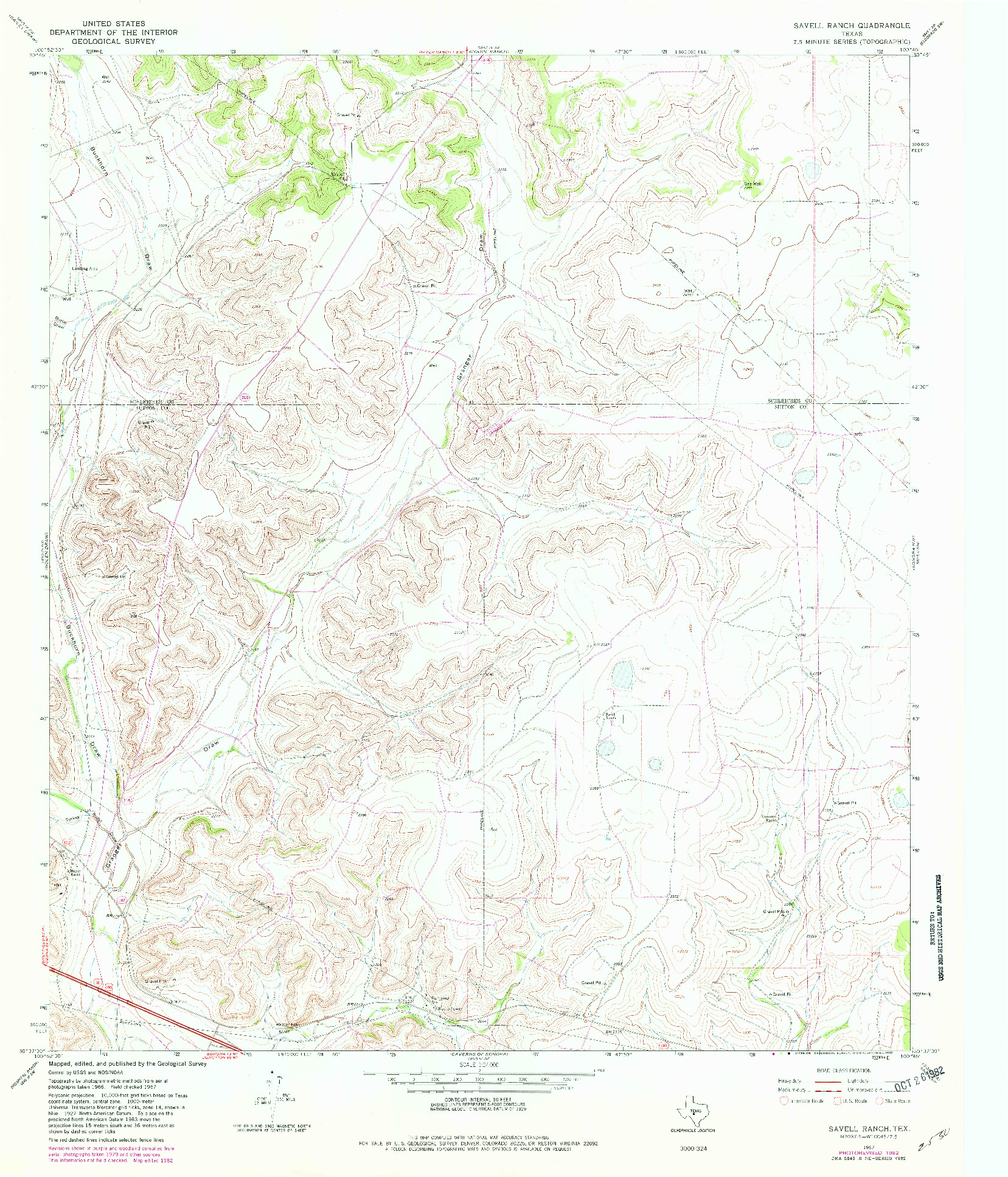 USGS 1:24000-SCALE QUADRANGLE FOR SAVELL RANCH, TX 1967