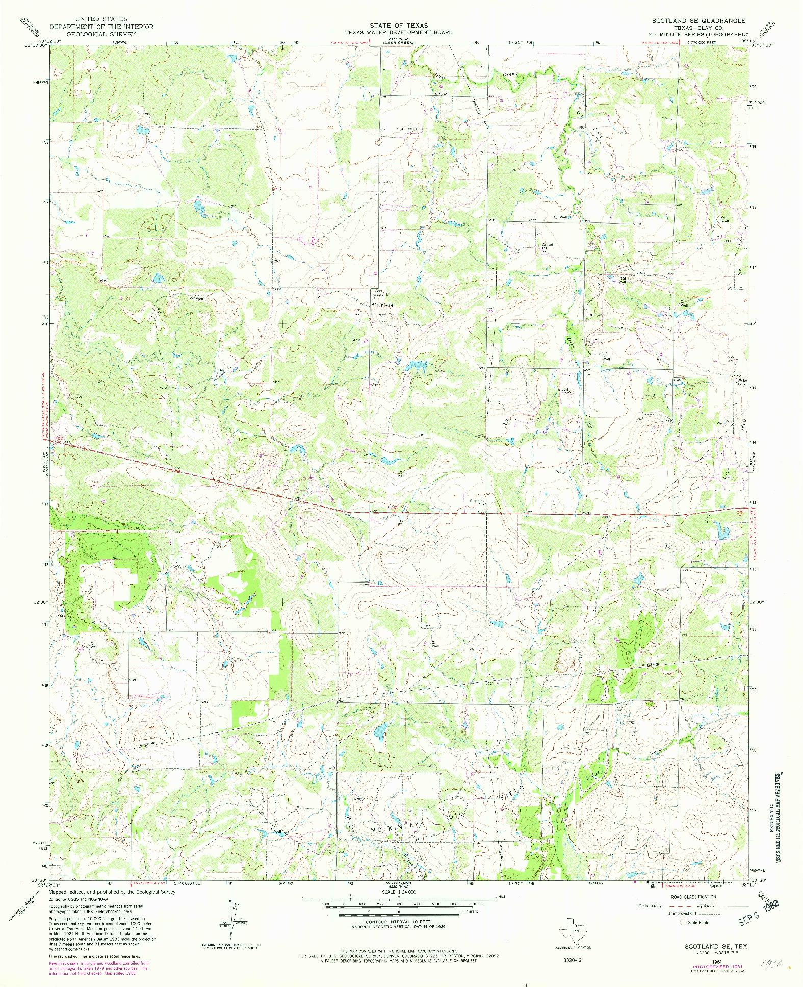 USGS 1:24000-SCALE QUADRANGLE FOR SCOTLAND SE, TX 1964