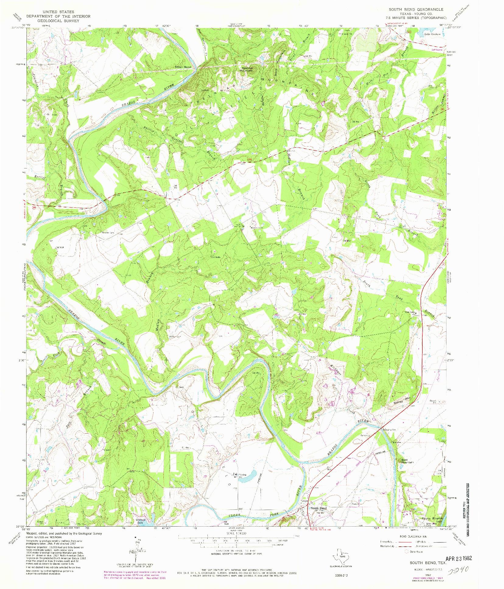 USGS 1:24000-SCALE QUADRANGLE FOR SOUTH BEND, TX 1967