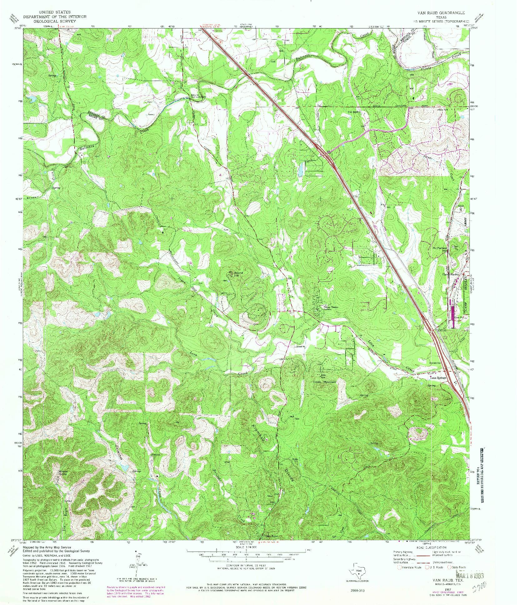USGS 1:24000-SCALE QUADRANGLE FOR VAN RAUB, TX 1967