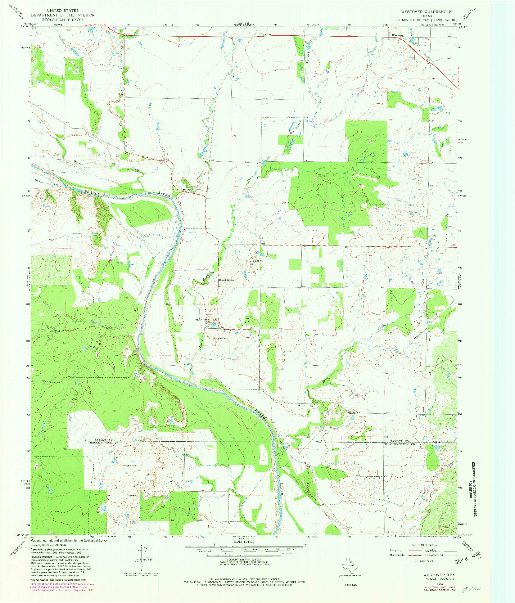 USGS 1:24000-SCALE QUADRANGLE FOR WESTOVER, TX 1966