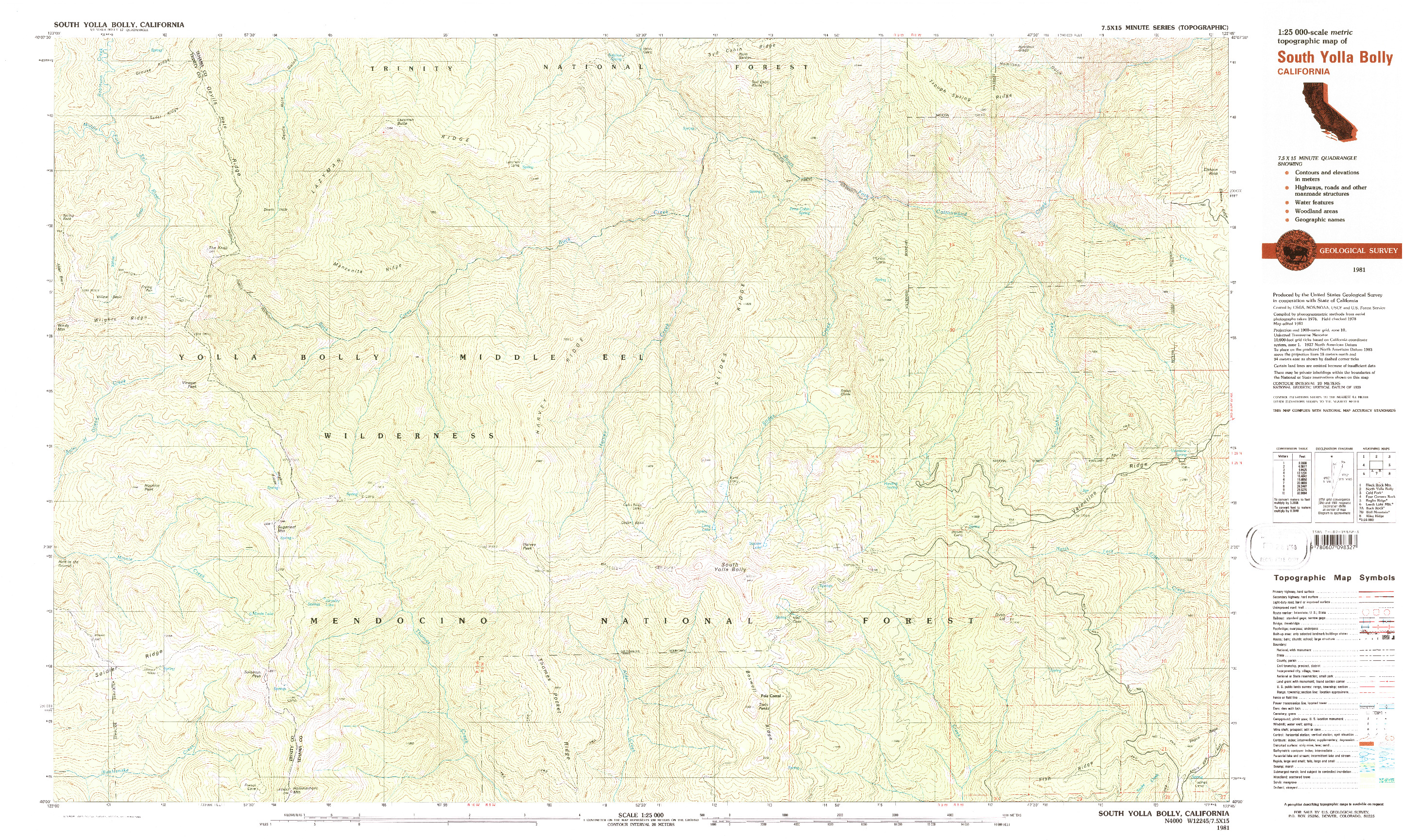 USGS 1:25000-SCALE QUADRANGLE FOR SOUTH YOLLA BOLLY, CA 1981