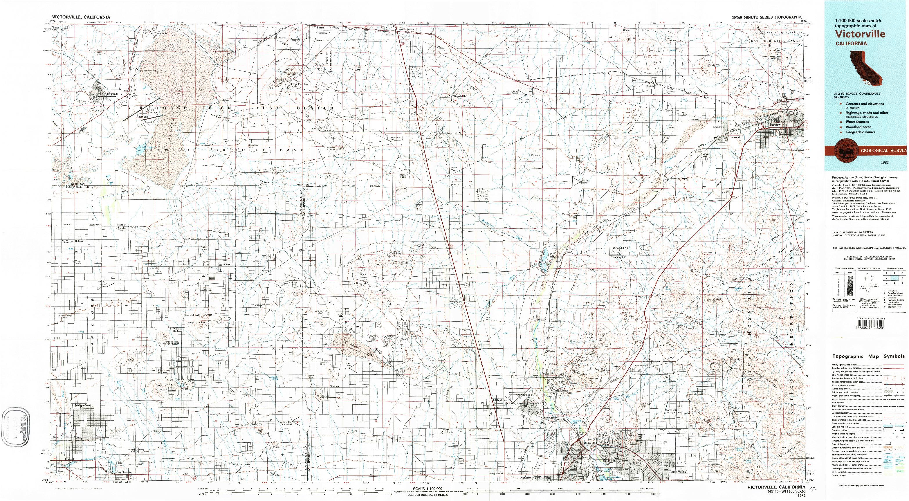 USGS 1:100000-SCALE QUADRANGLE FOR VICTORVILLE, CA 1982