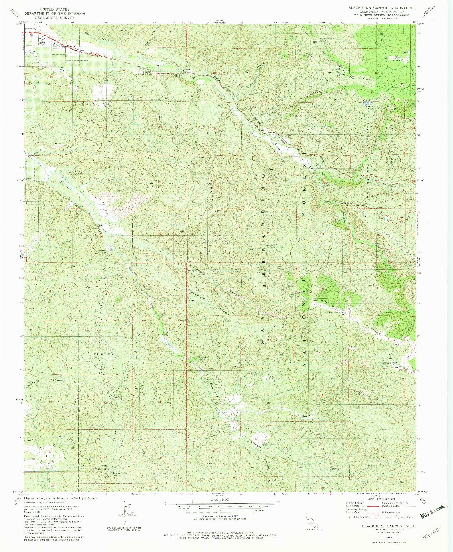 USGS 1:24000-SCALE QUADRANGLE FOR BLACKBURN CANYON, CA 1982