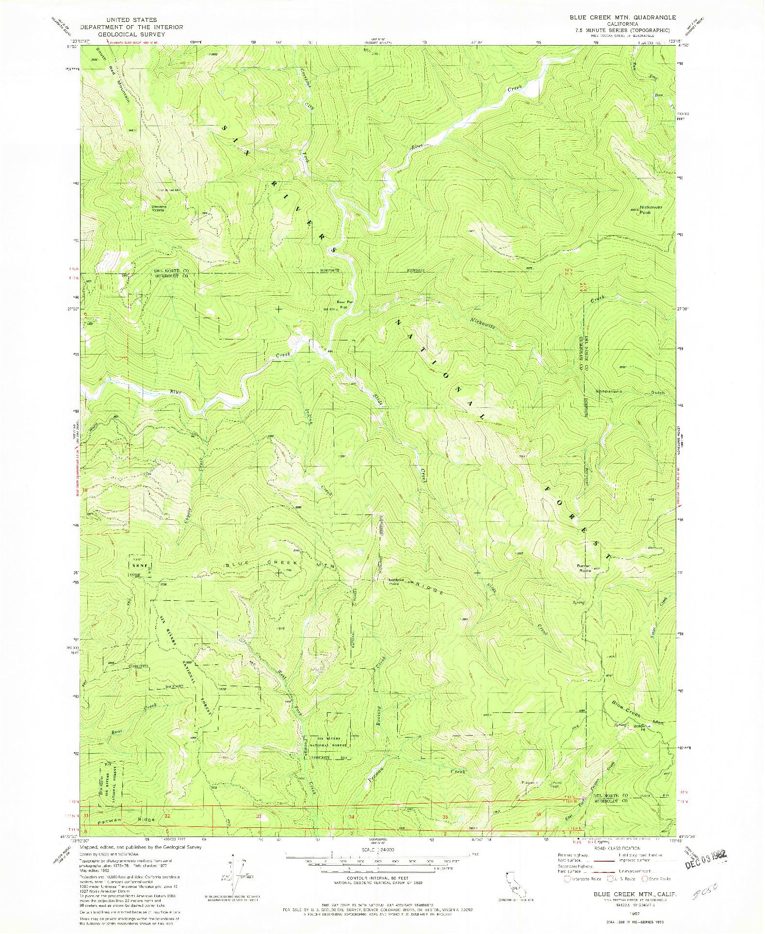 USGS 1:24000-SCALE QUADRANGLE FOR BLUE CREEK MTN, CA 1982