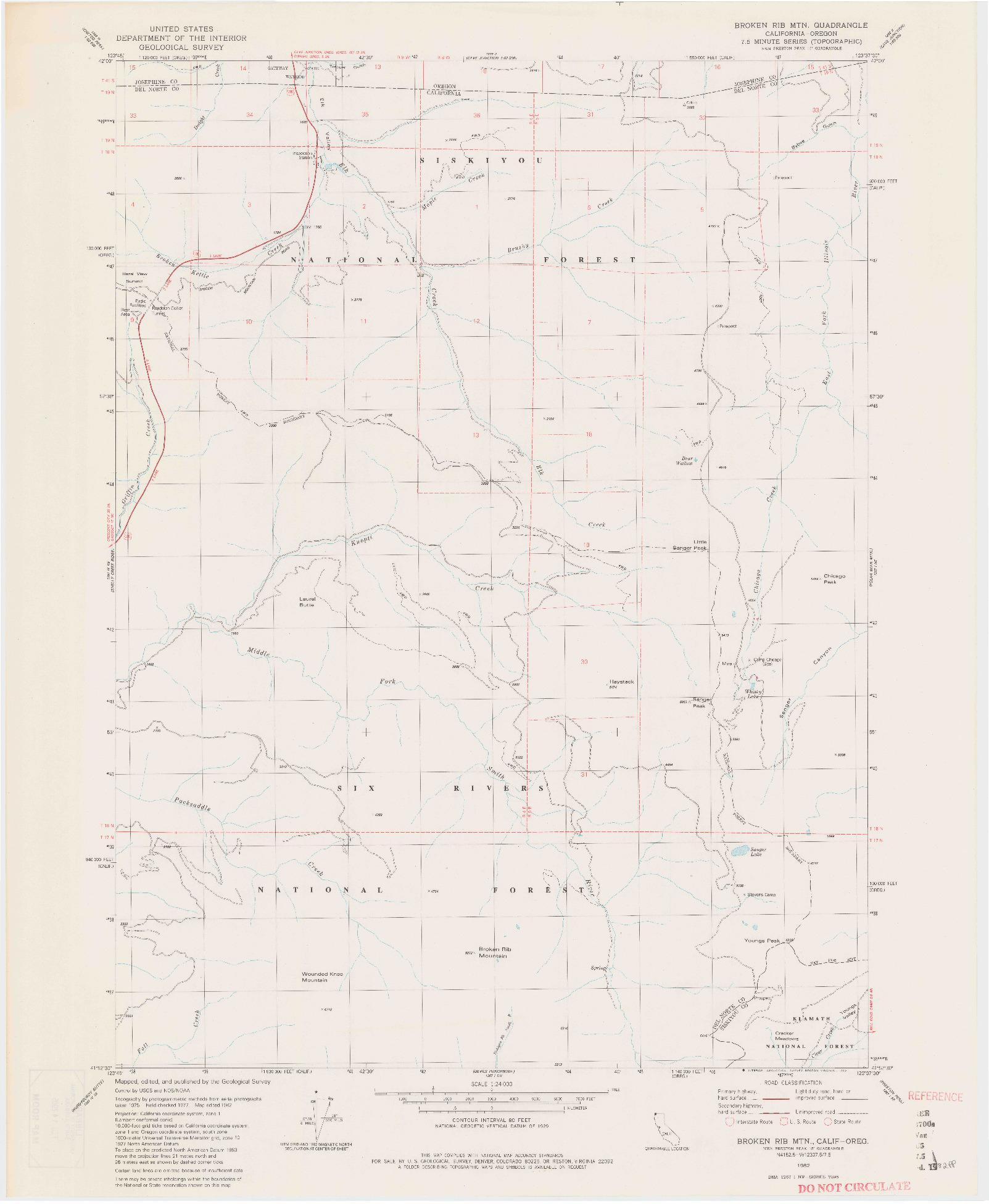USGS 1:24000-SCALE QUADRANGLE FOR BROKEN RIB MTN, CA 1982