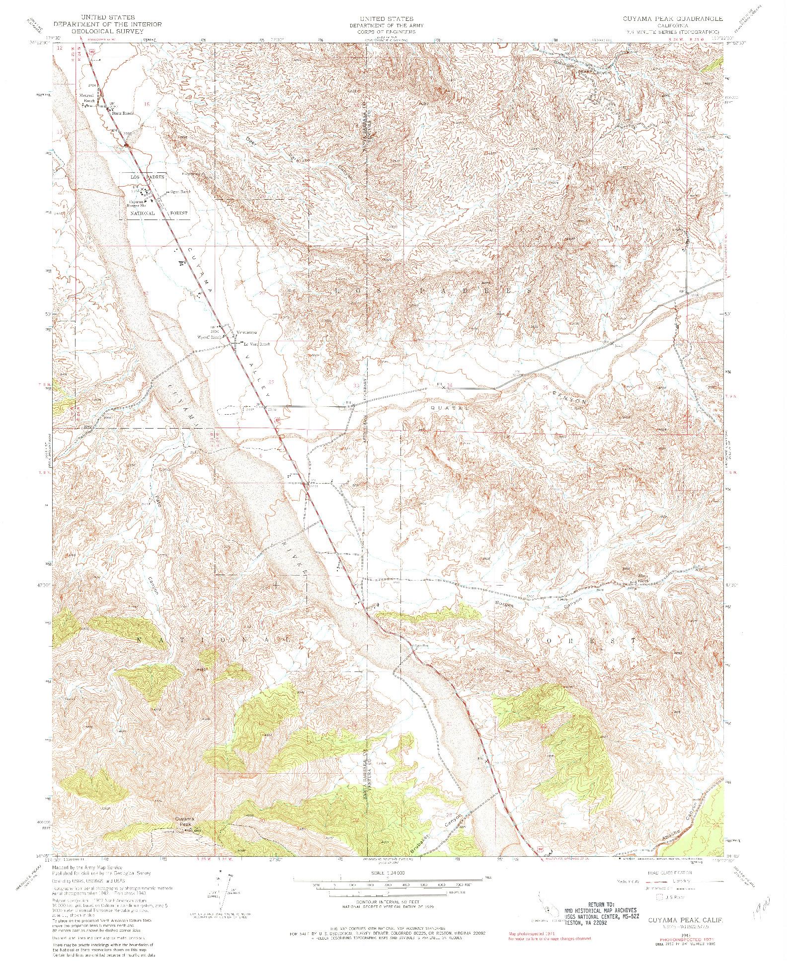 USGS 1:24000-SCALE QUADRANGLE FOR CUYAMA PEAK, CA 1943
