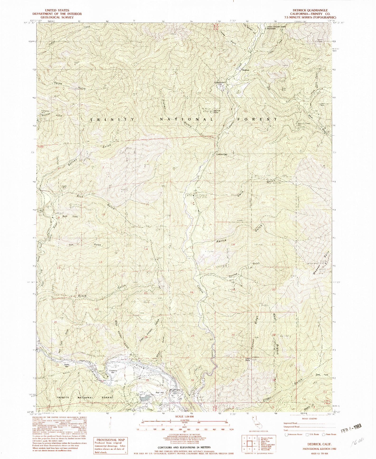 USGS 1:24000-SCALE QUADRANGLE FOR DEDRICK, CA 1982