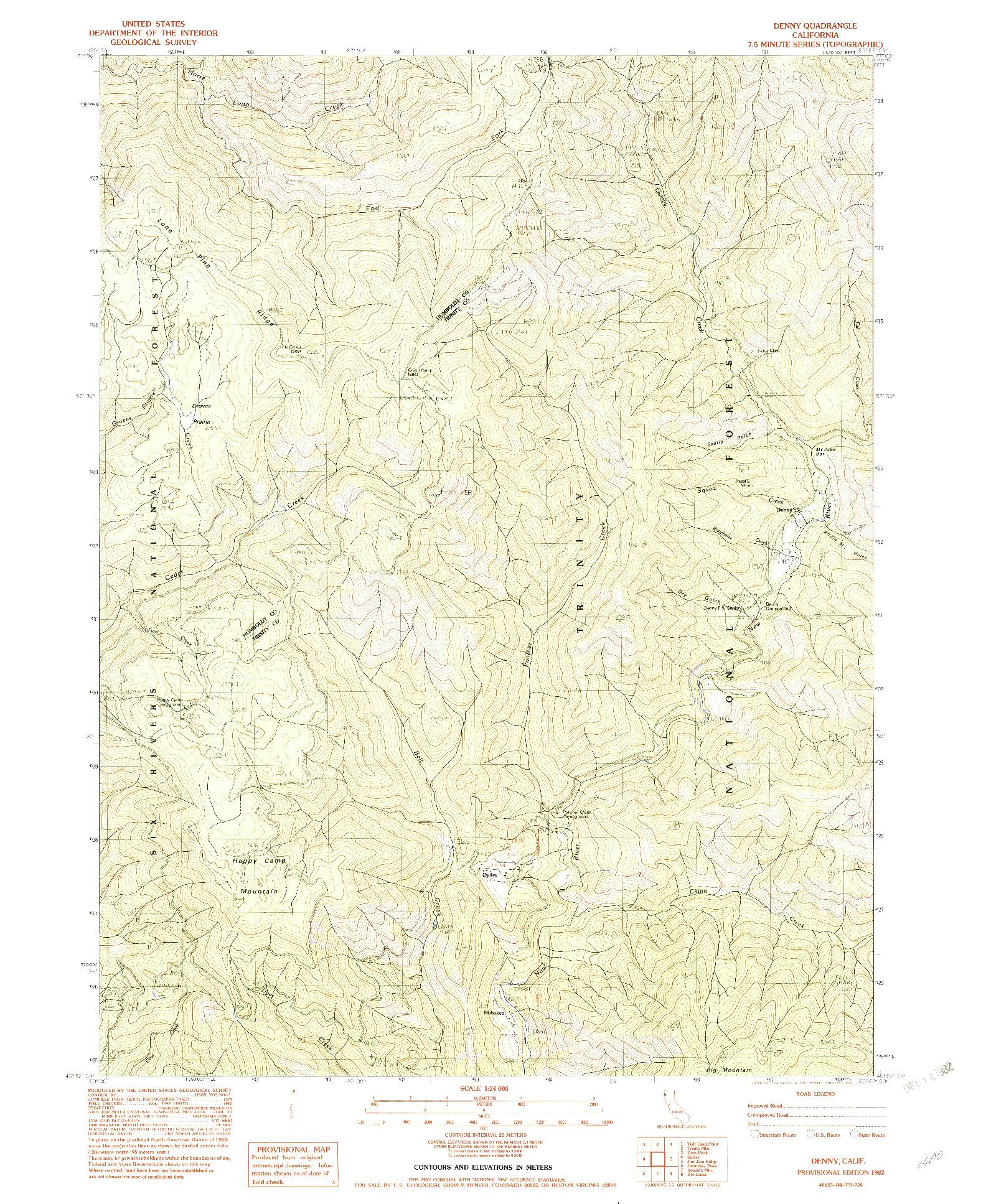 USGS 1:24000-SCALE QUADRANGLE FOR DENNY, CA 1982