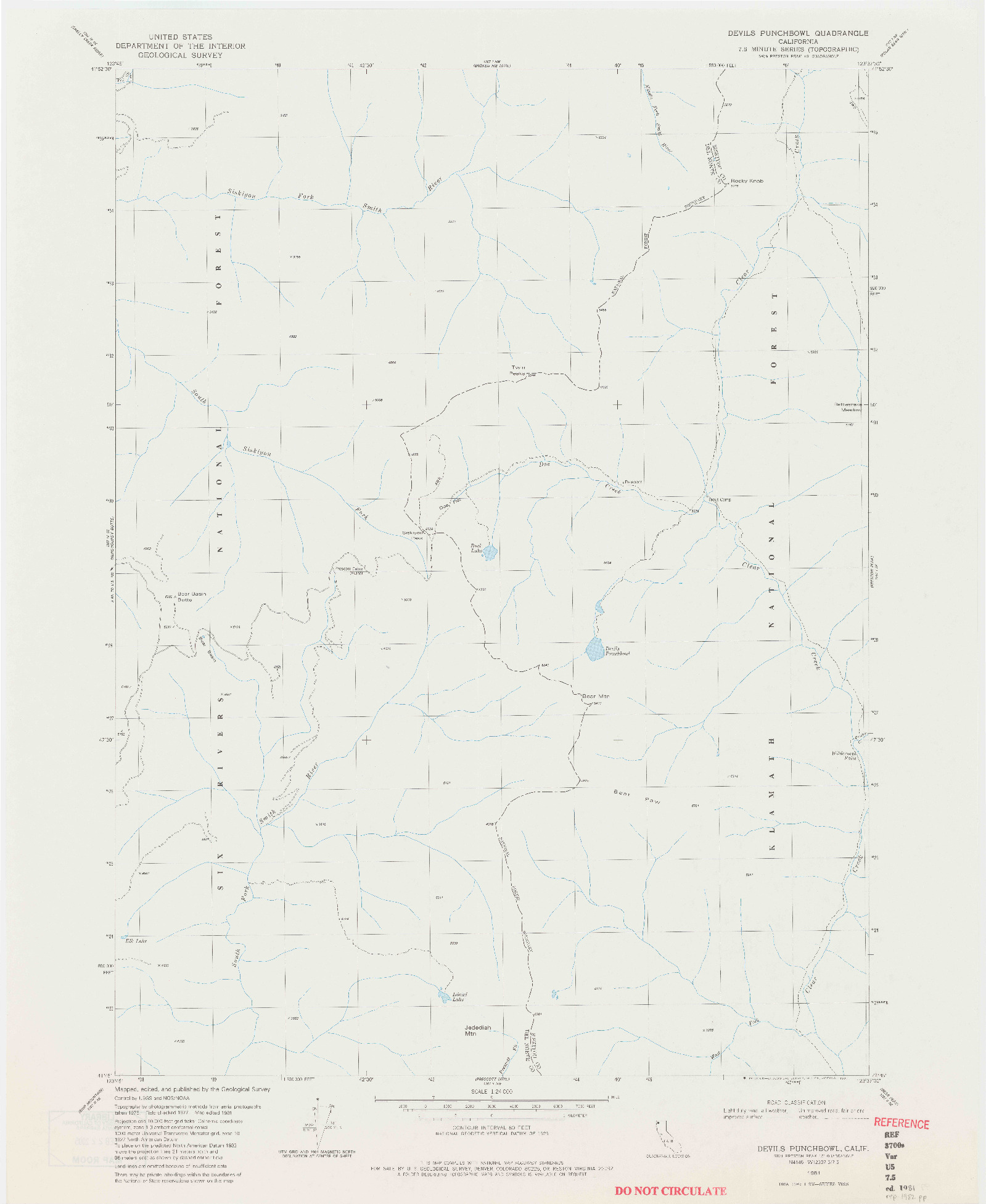 USGS 1:24000-SCALE QUADRANGLE FOR DEVILS PUNCHBOWL, CA 1981