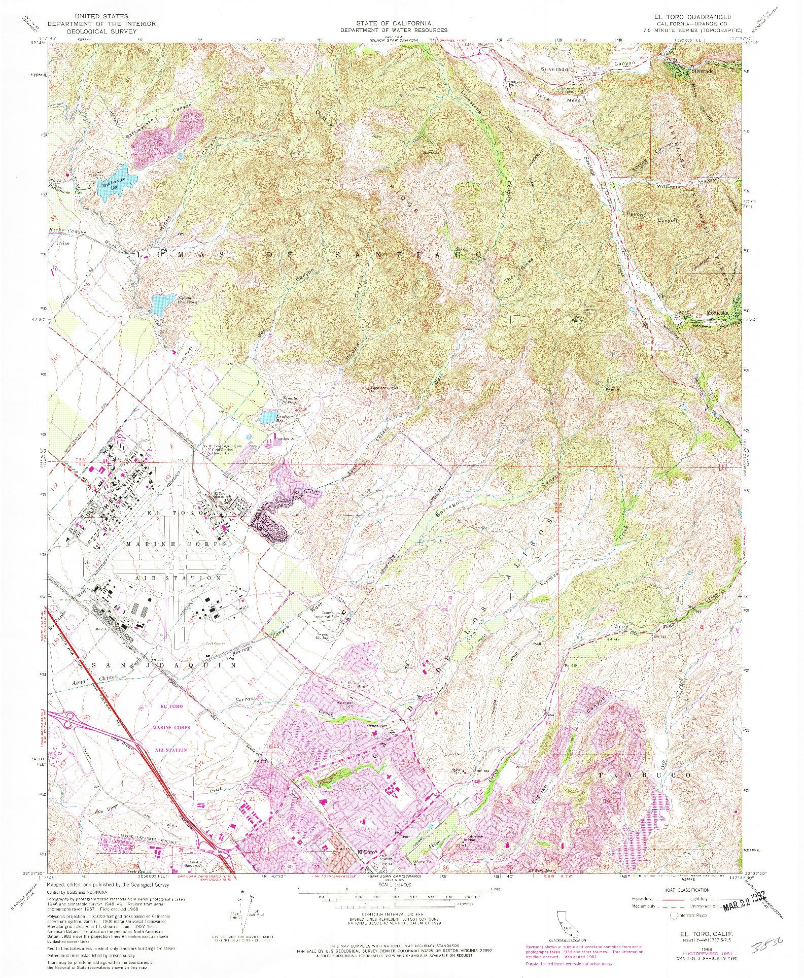 USGS 1:24000-SCALE QUADRANGLE FOR EL TORO, CA 1968