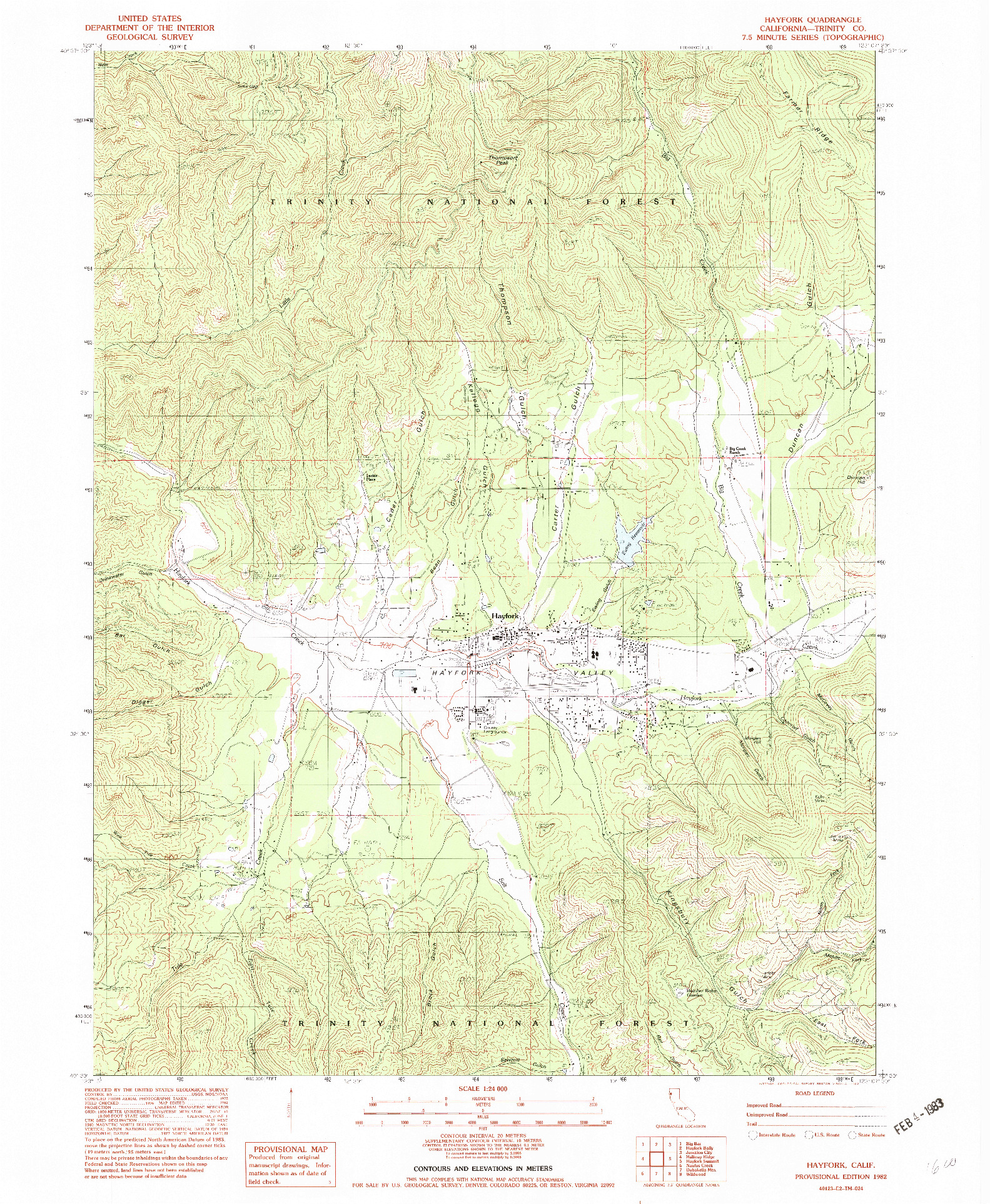USGS 1:24000-SCALE QUADRANGLE FOR HAYFORK, CA 1982