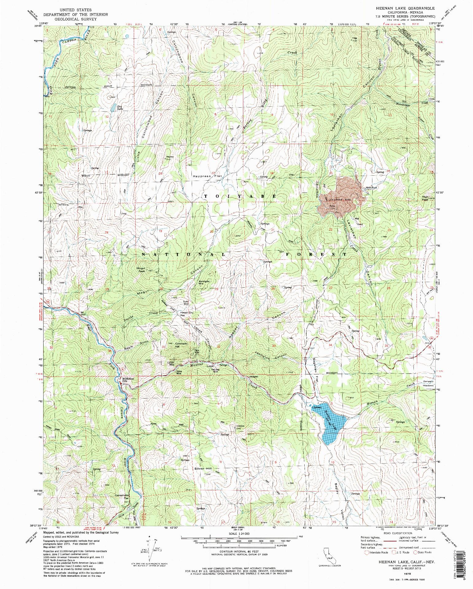 USGS 1:24000-SCALE QUADRANGLE FOR HEENAN LAKE, CA 1979
