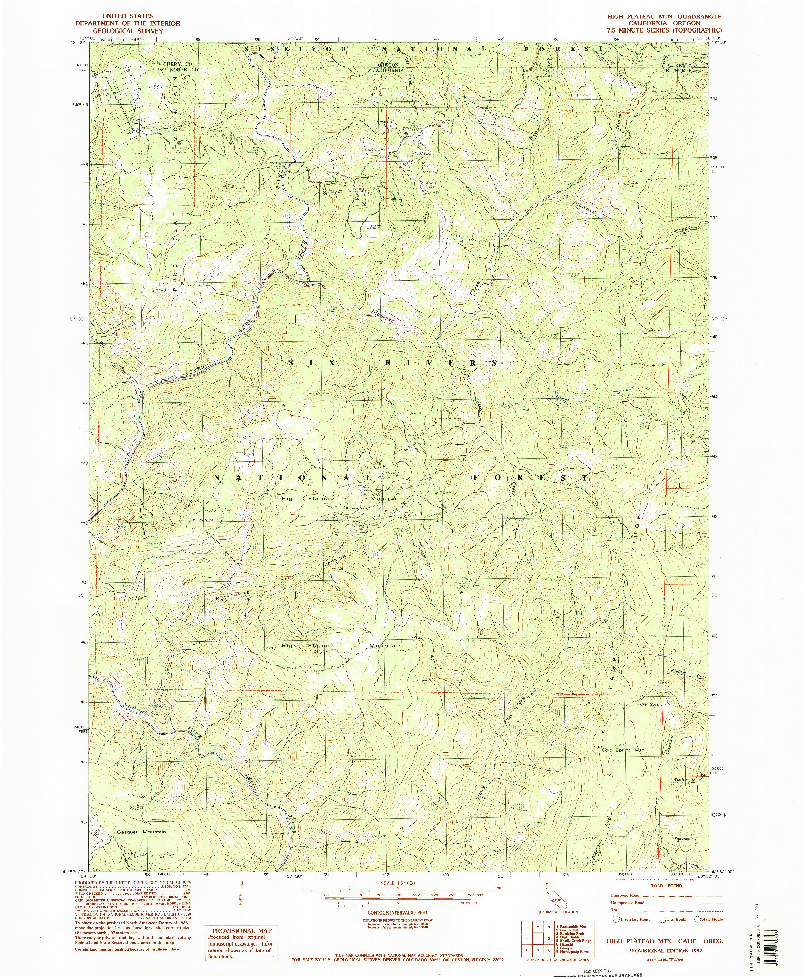 USGS 1:24000-SCALE QUADRANGLE FOR HIGH PLATEAU MTN., CA 1982