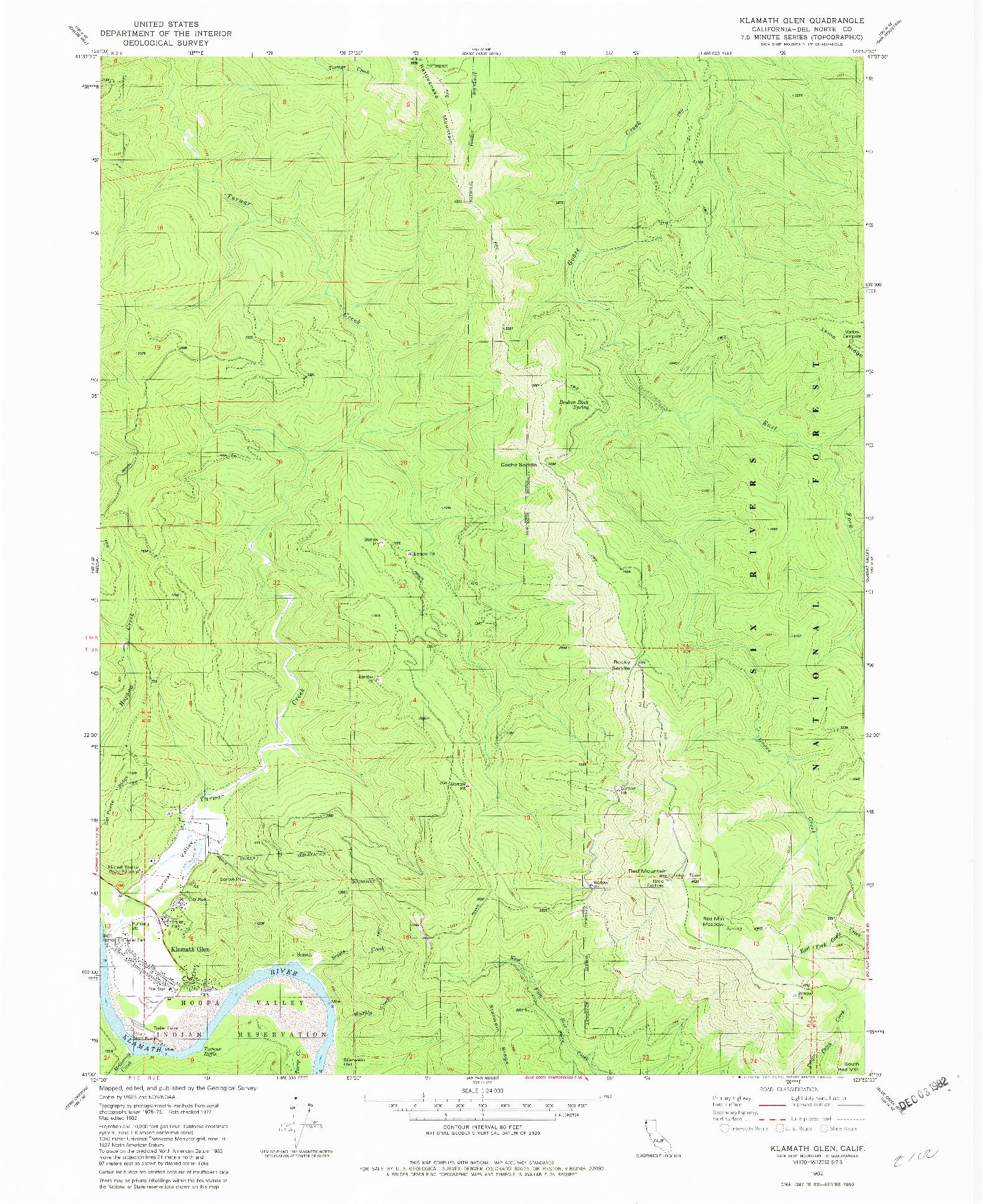 USGS 1:24000-SCALE QUADRANGLE FOR KLAMATH GLEN, CA 1982
