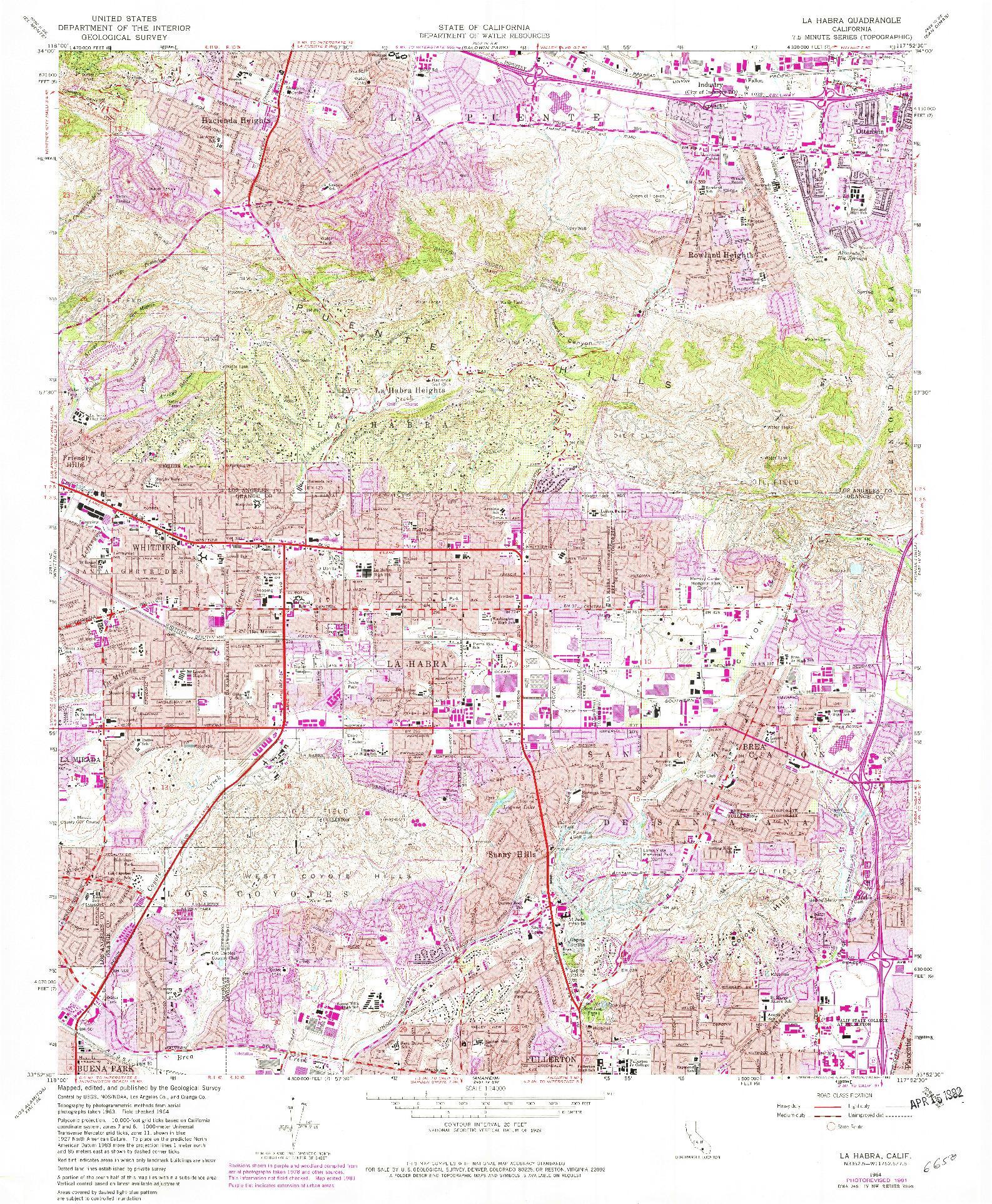 USGS 1:24000-SCALE QUADRANGLE FOR LA HABRA, CA 1964