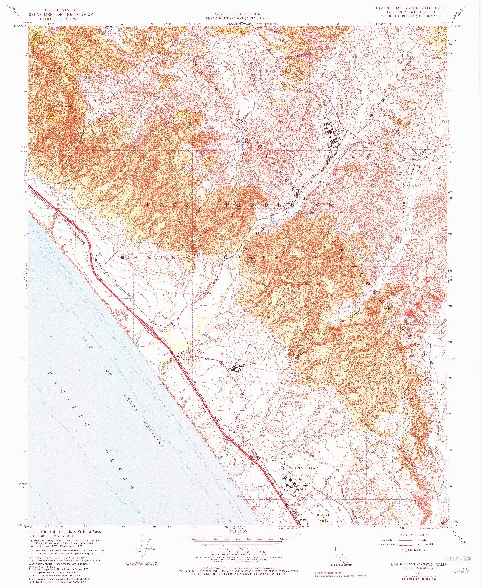 USGS 1:24000-SCALE QUADRANGLE FOR LAS PULGAS CANYON, CA 1968