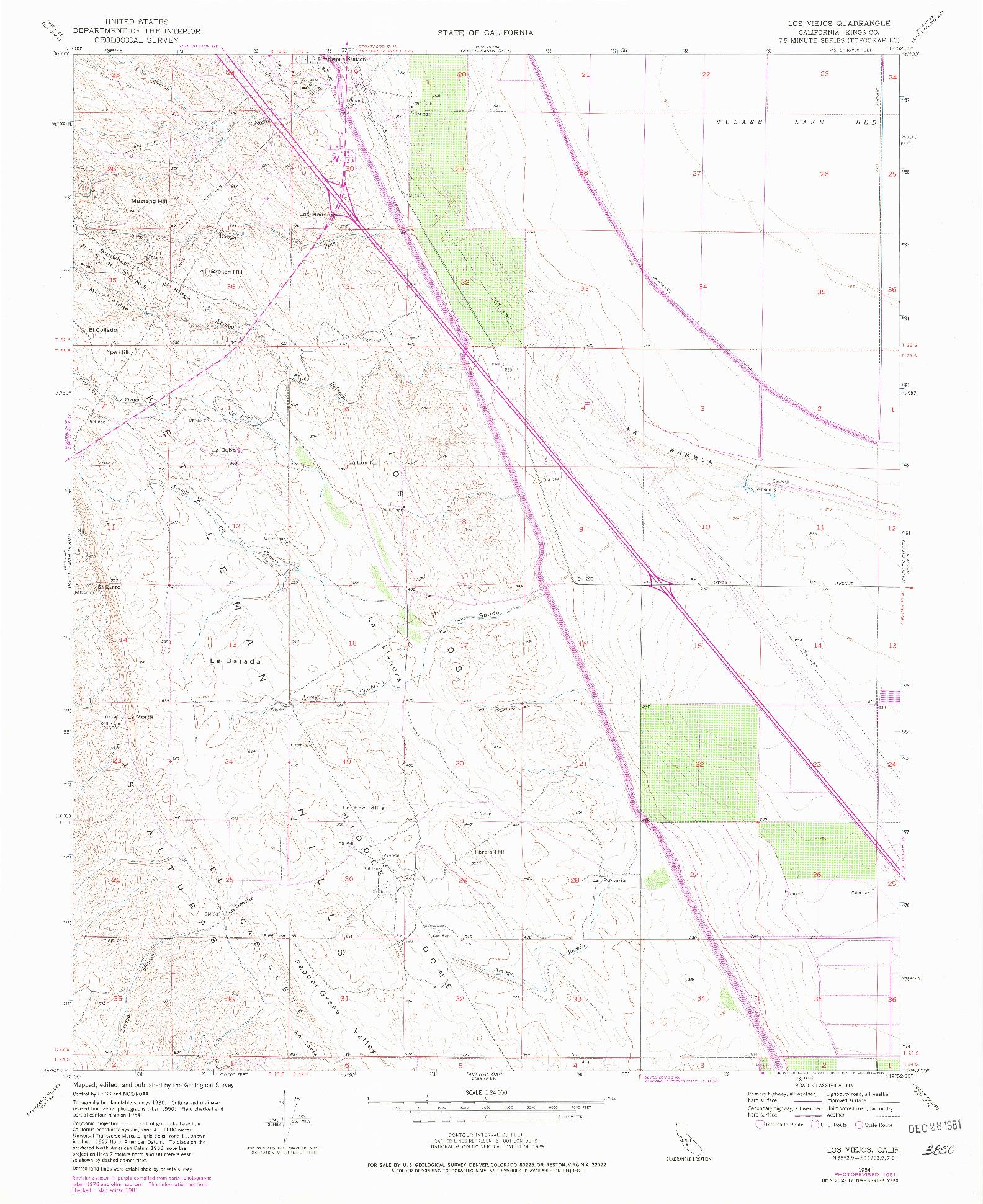 USGS 1:24000-SCALE QUADRANGLE FOR LOS VIEJOS, CA 1954