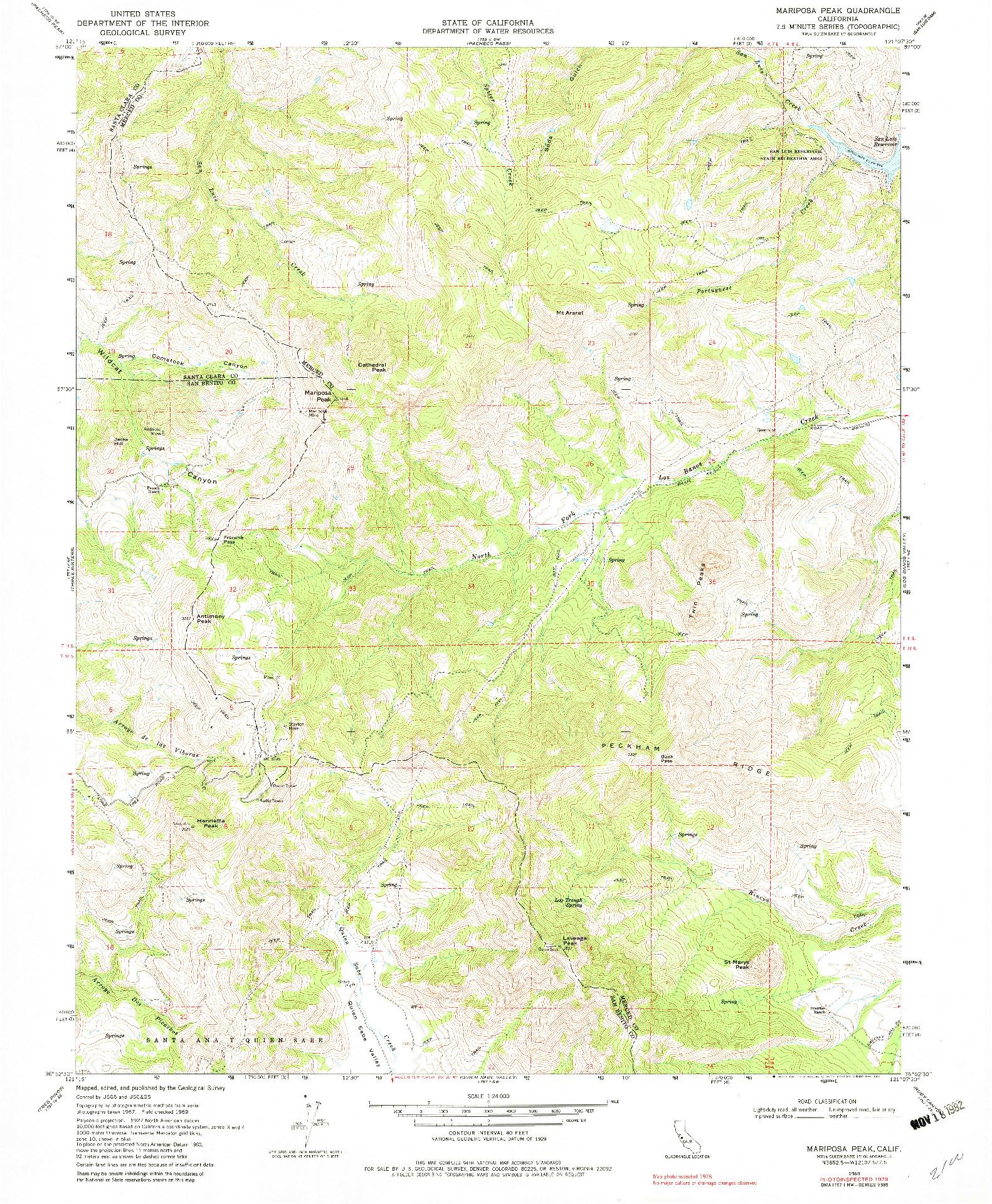 USGS 1:24000-SCALE QUADRANGLE FOR MARIPOSA PEAK, CA 1969