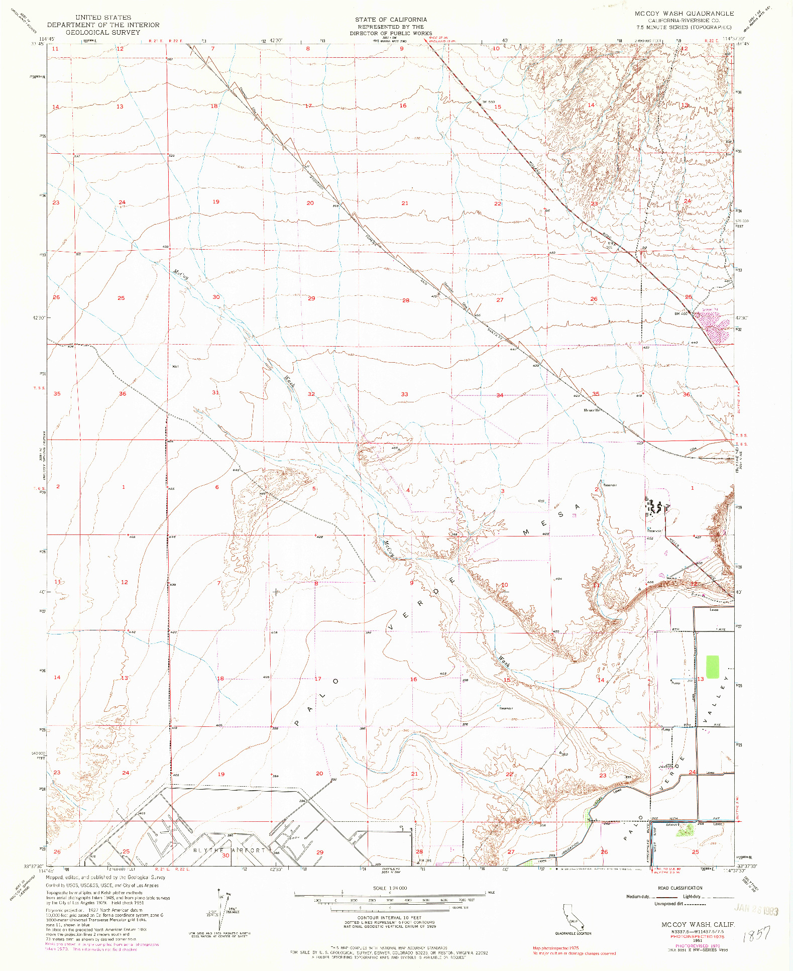 USGS 1:24000-SCALE QUADRANGLE FOR MCCOY WASH, CA 1951