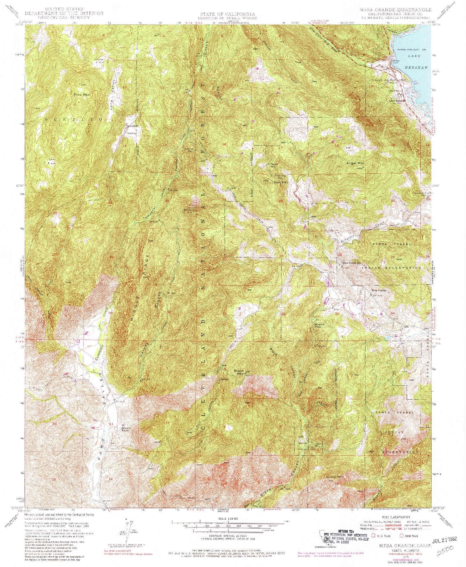 USGS 1:24000-SCALE QUADRANGLE FOR MESA GRANDE, CA 1948