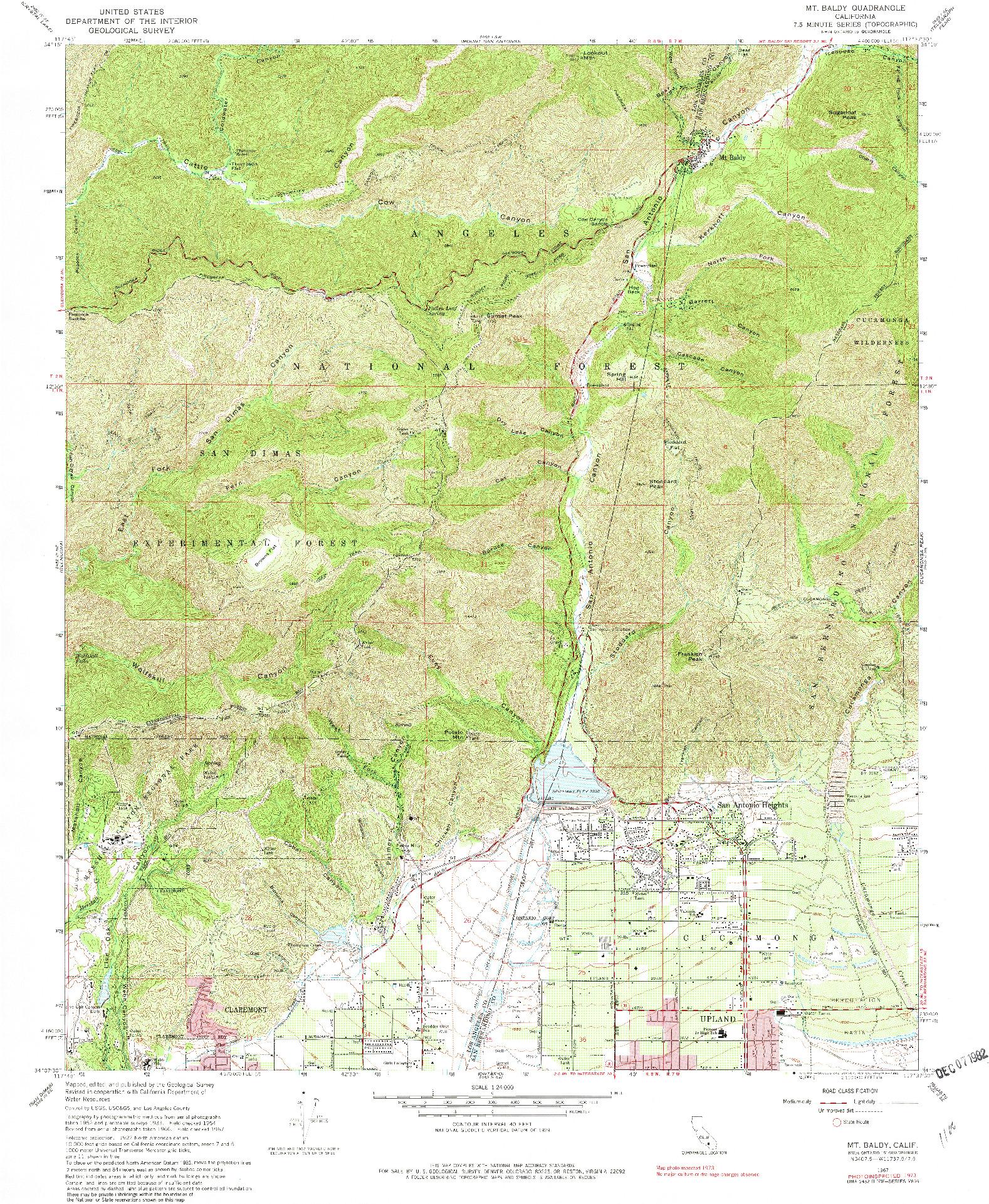 USGS 1:24000-SCALE QUADRANGLE FOR MT. BALDY, CA 1967