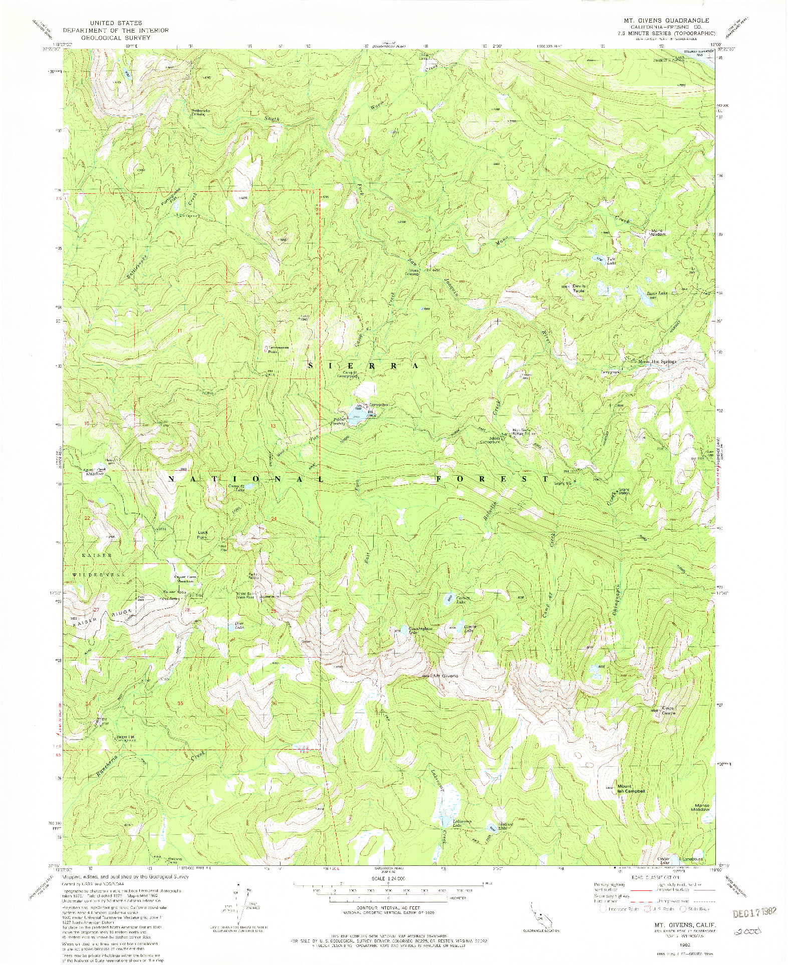 USGS 1:24000-SCALE QUADRANGLE FOR MT. GIVENS, CA 1982