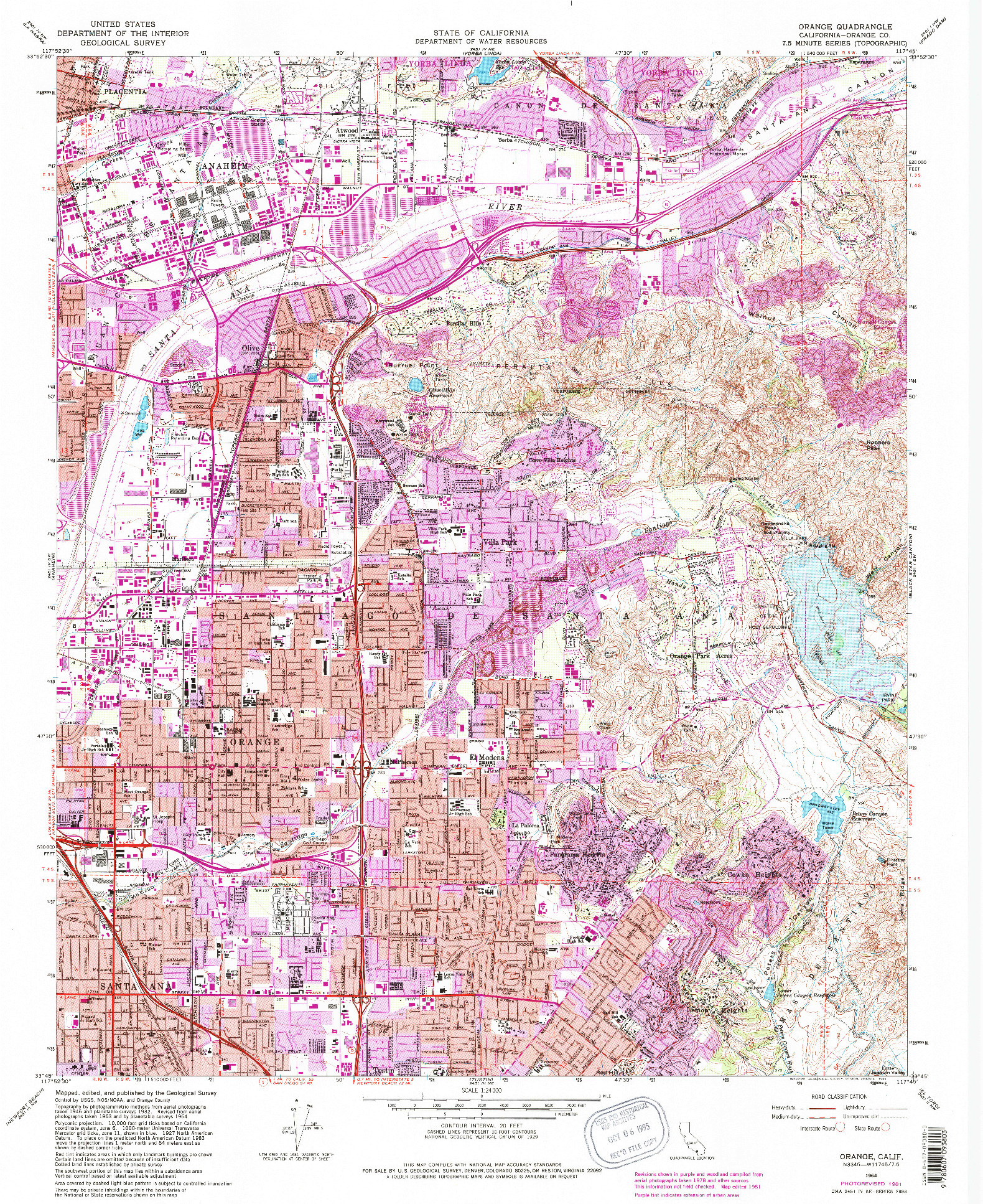USGS 1:24000-SCALE QUADRANGLE FOR ORANGE, CA 1964