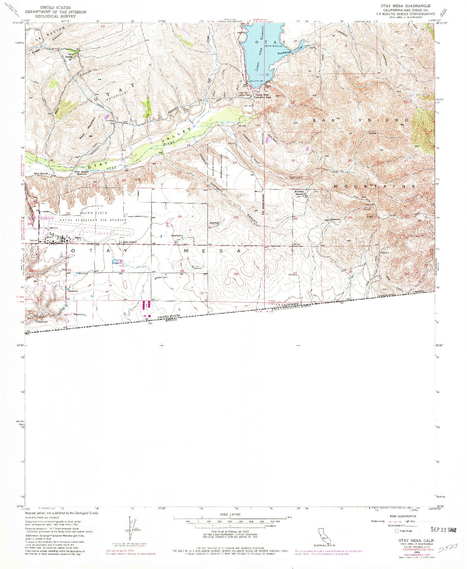 USGS 1:24000-SCALE QUADRANGLE FOR OTAY MESA, CA 1955
