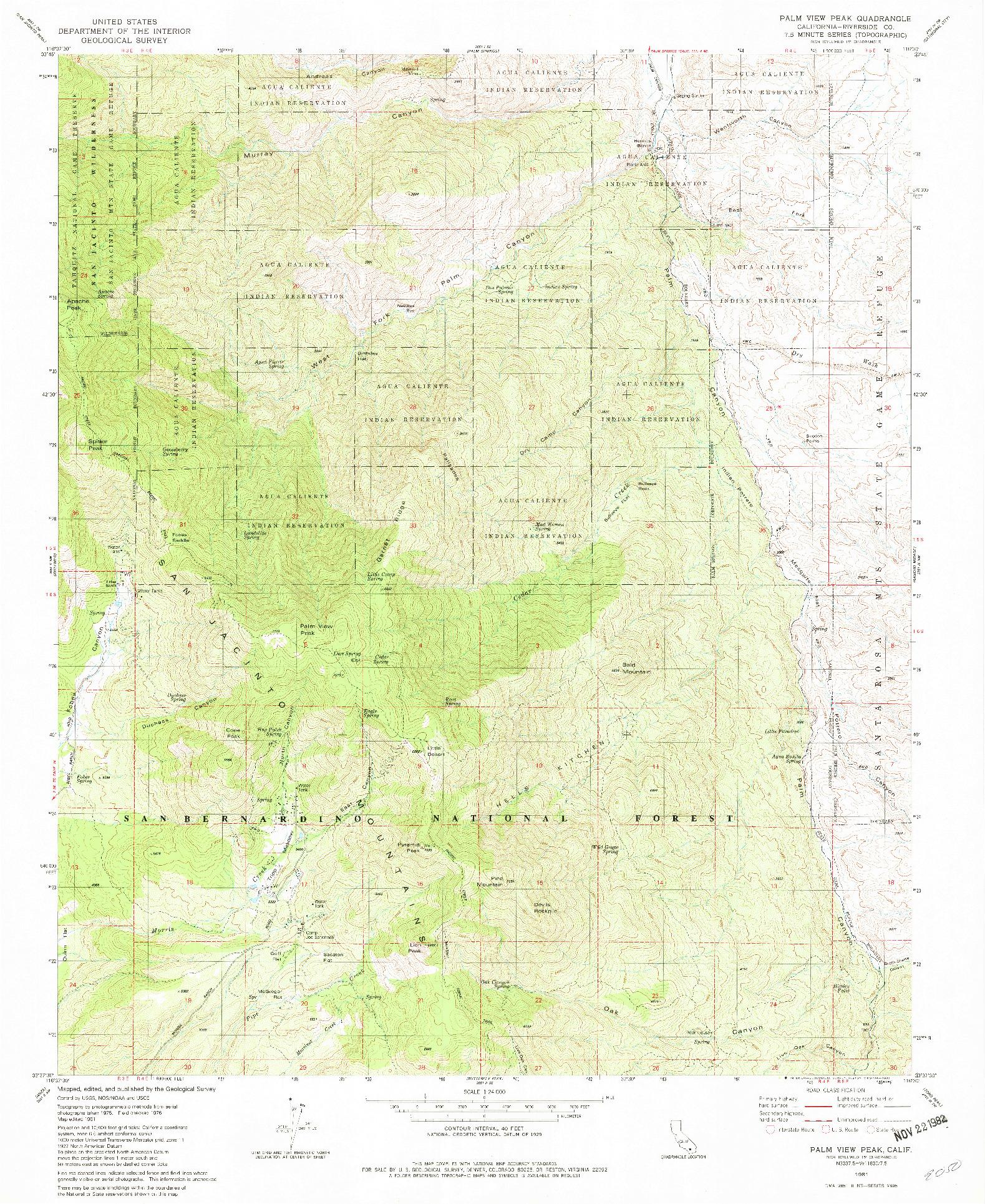 USGS 1:24000-SCALE QUADRANGLE FOR PALM VIEW PEAK, CA 1981