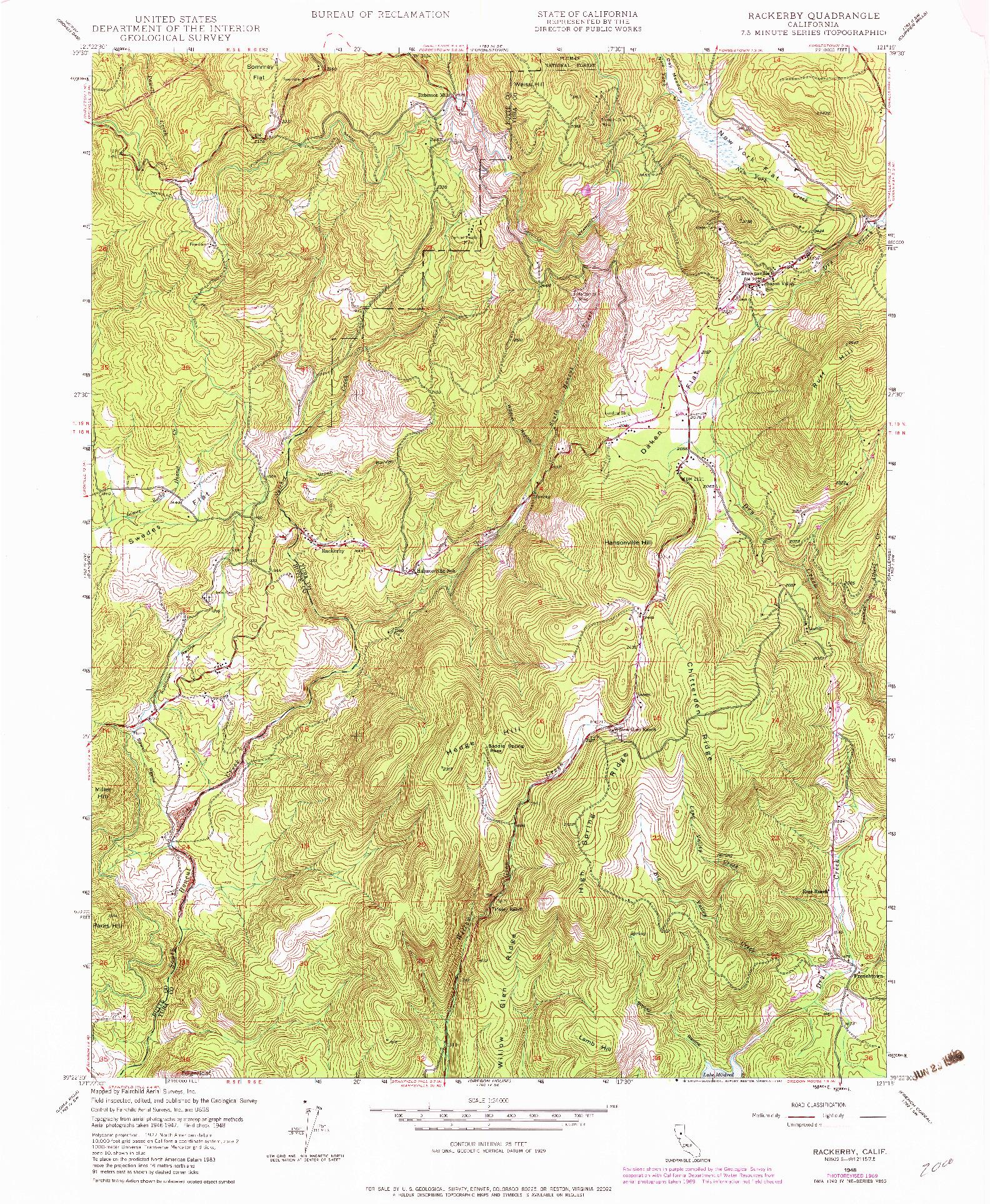 USGS 1:24000-SCALE QUADRANGLE FOR RACKERBY, CA 1948