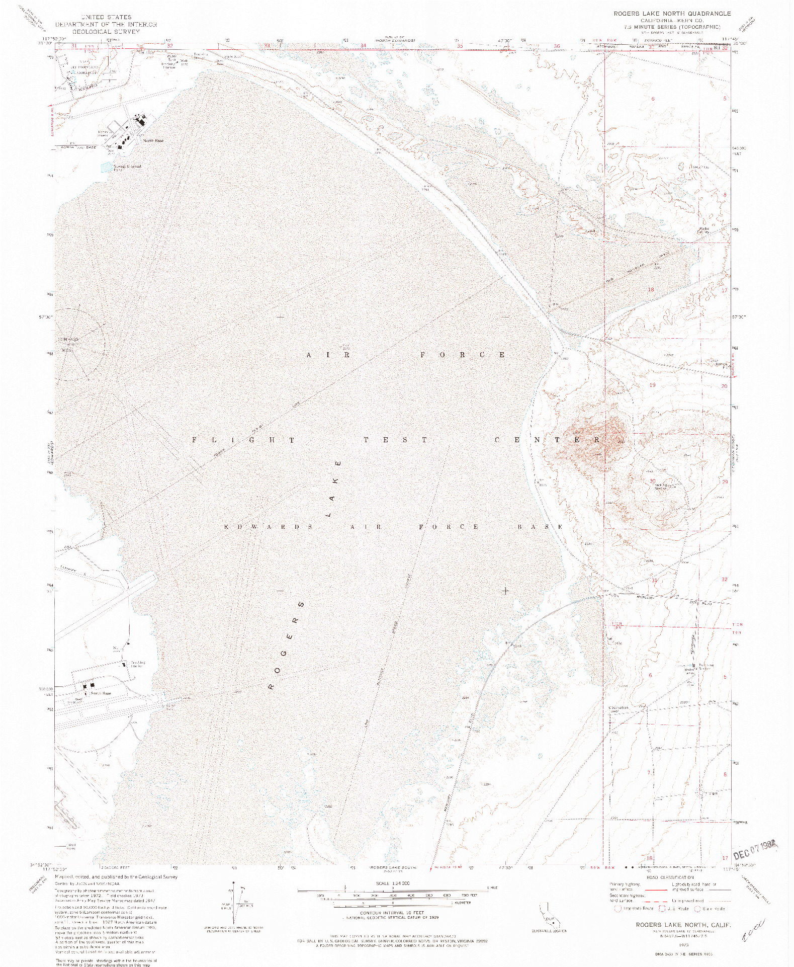 USGS 1:24000-SCALE QUADRANGLE FOR ROGERS LAKE NORTH, CA 1973