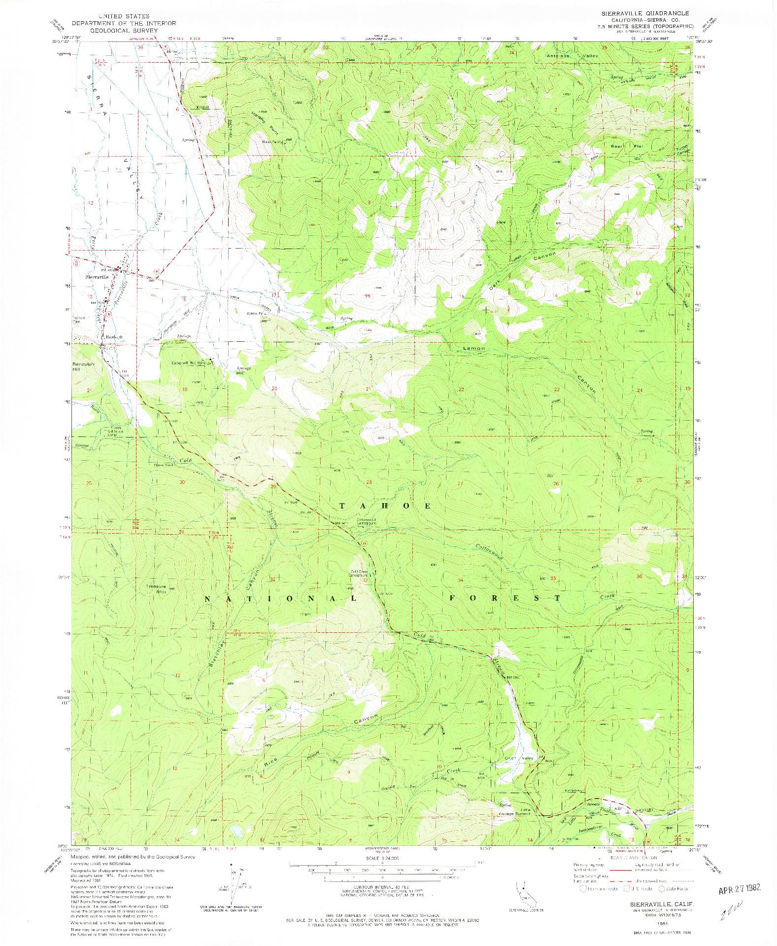 USGS 1:24000-SCALE QUADRANGLE FOR SIERRAVILLE, CA 1981