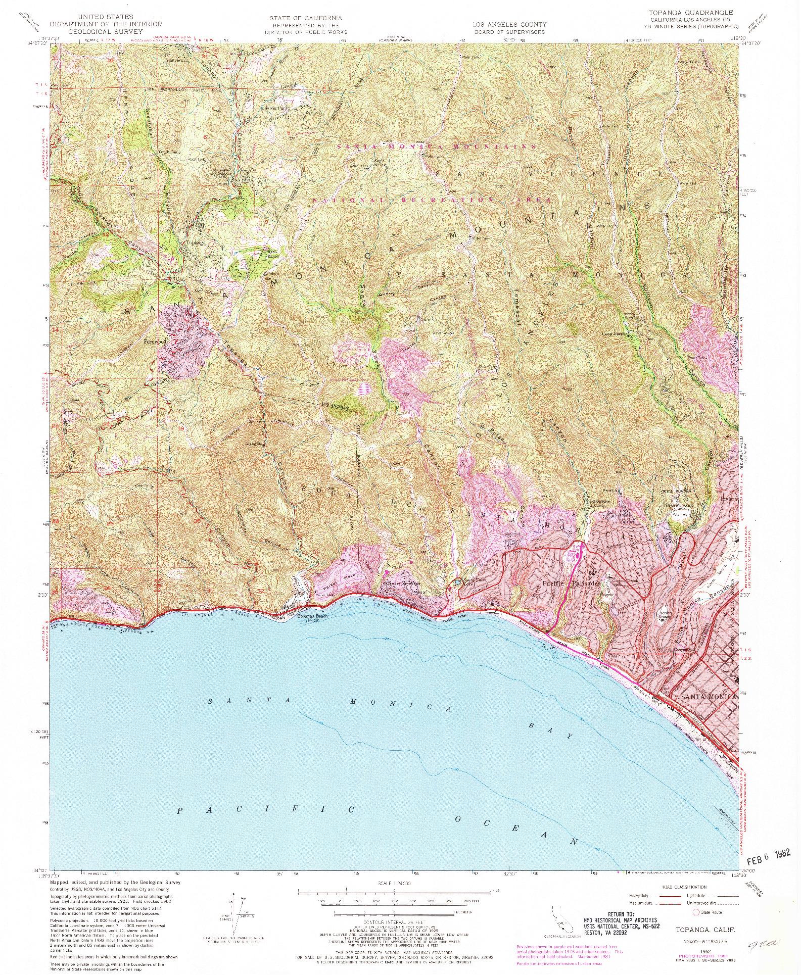 USGS 1:24000-SCALE QUADRANGLE FOR TOPANGA, CA 1952