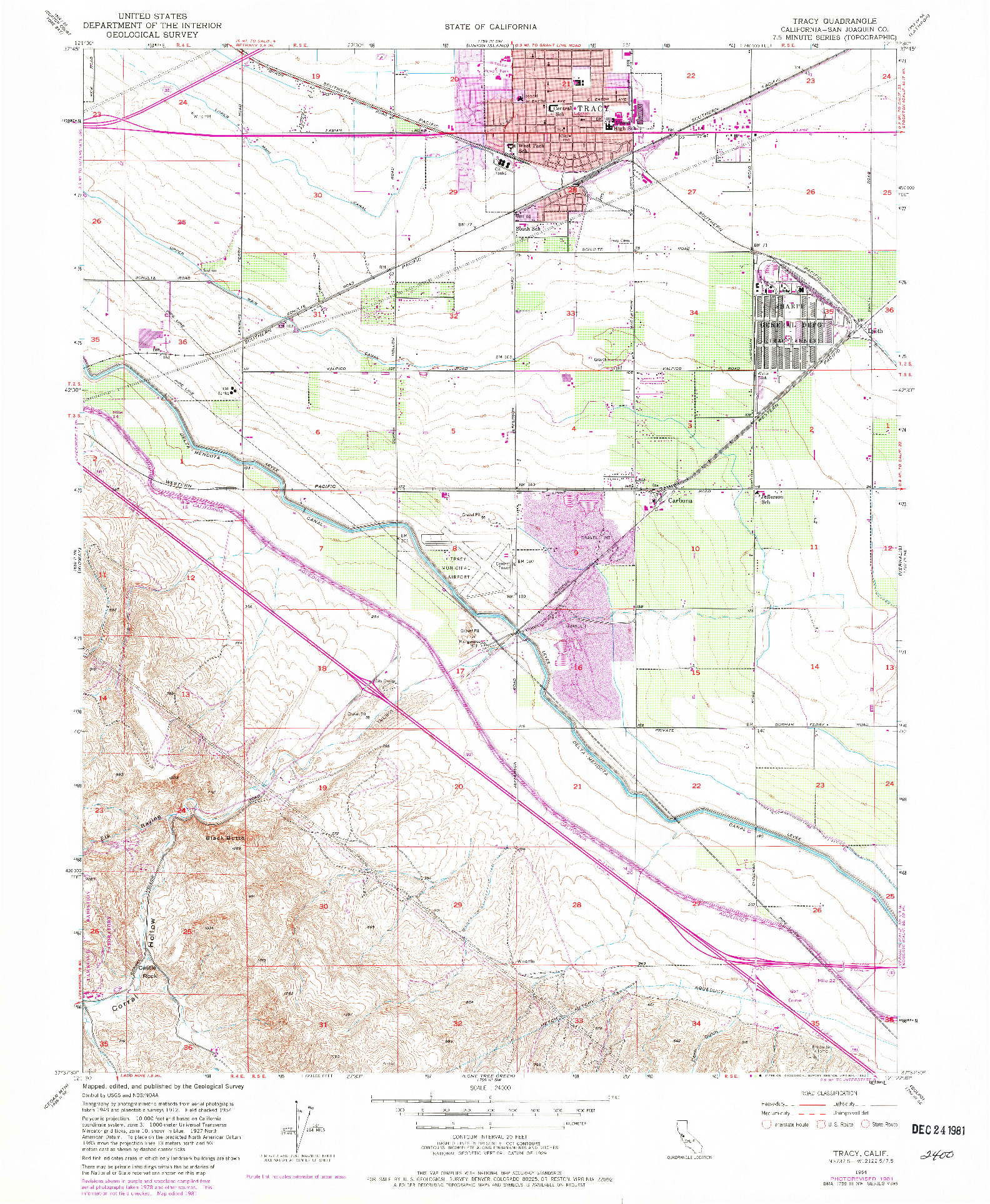 USGS 1:24000-SCALE QUADRANGLE FOR TRACY, CA 1954