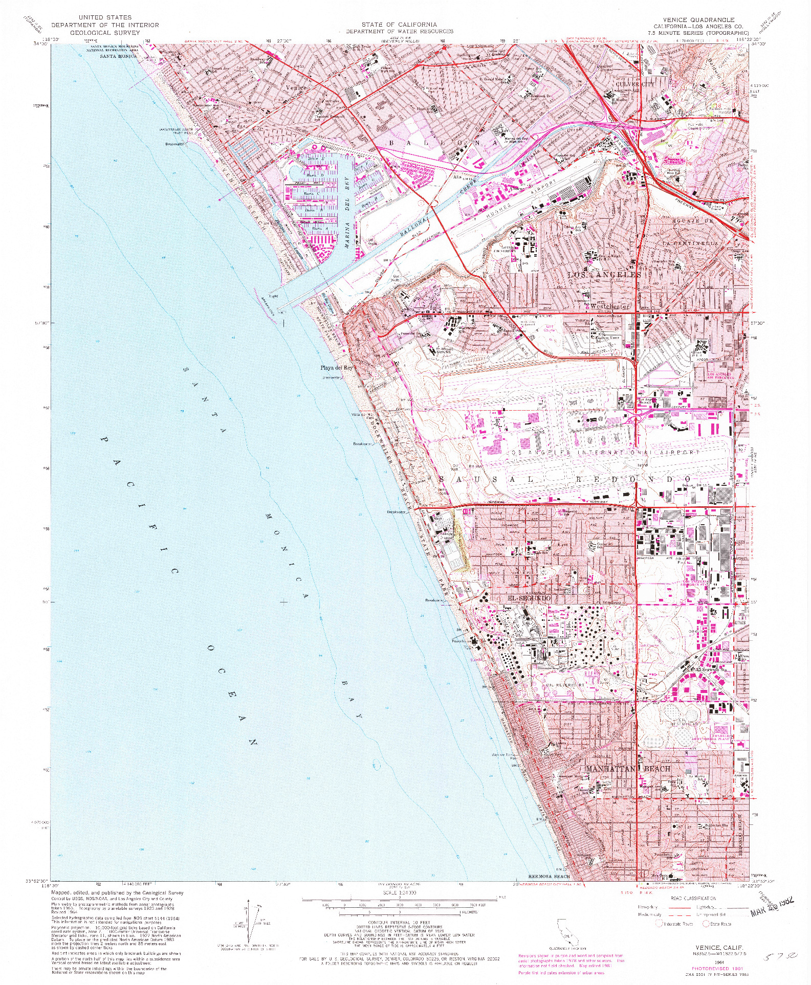 USGS 1:24000-SCALE QUADRANGLE FOR VENICE, CA 1964