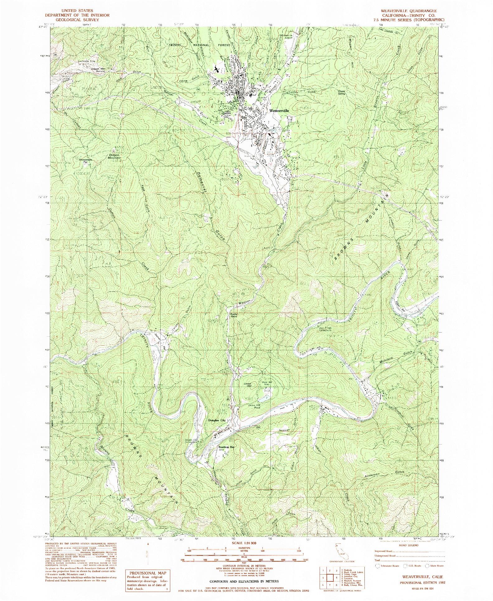 USGS 1:24000-SCALE QUADRANGLE FOR WEAVERVILLE, CA 1982