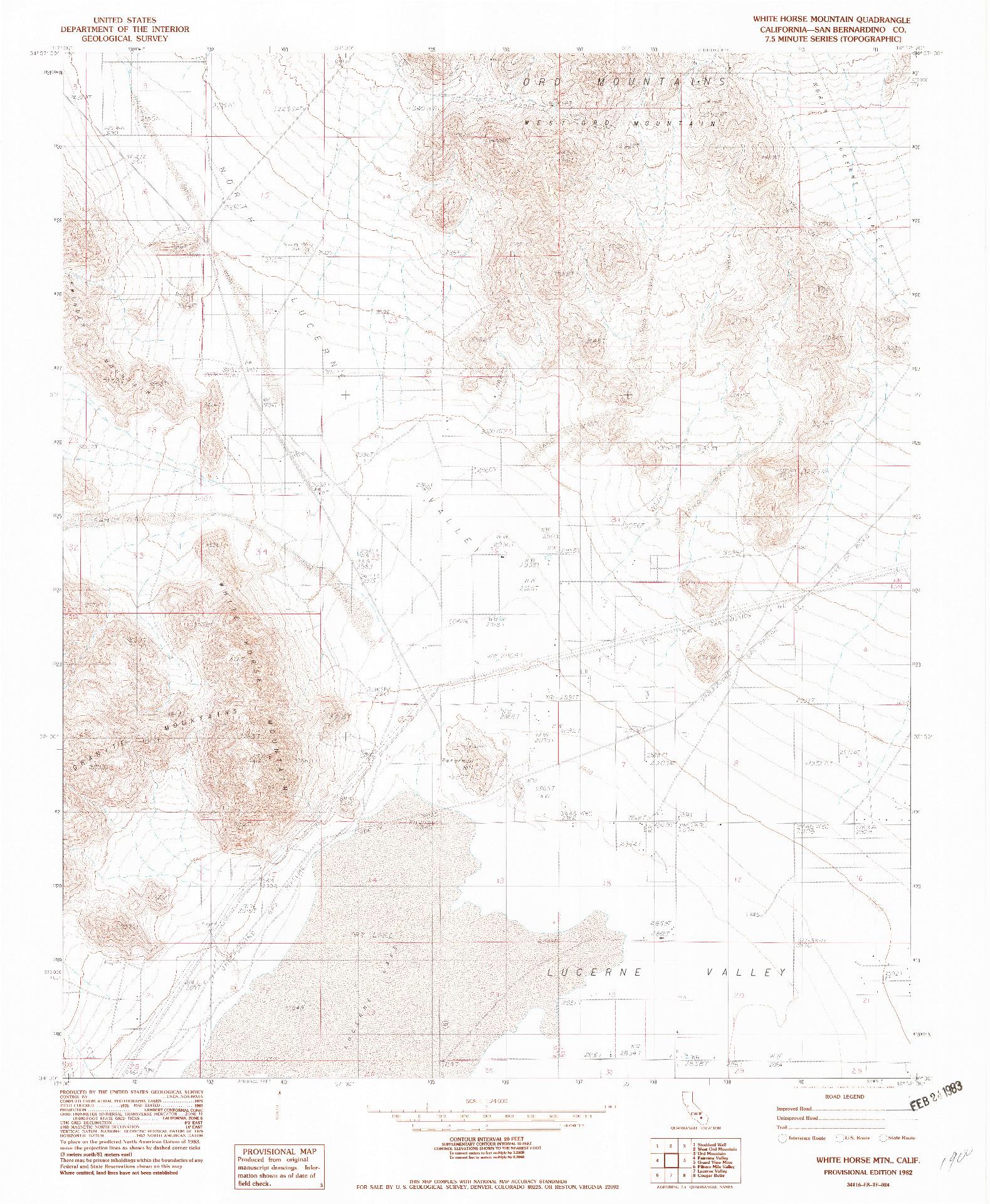 USGS 1:24000-SCALE QUADRANGLE FOR WHITE HORSE MTN, CA 1982