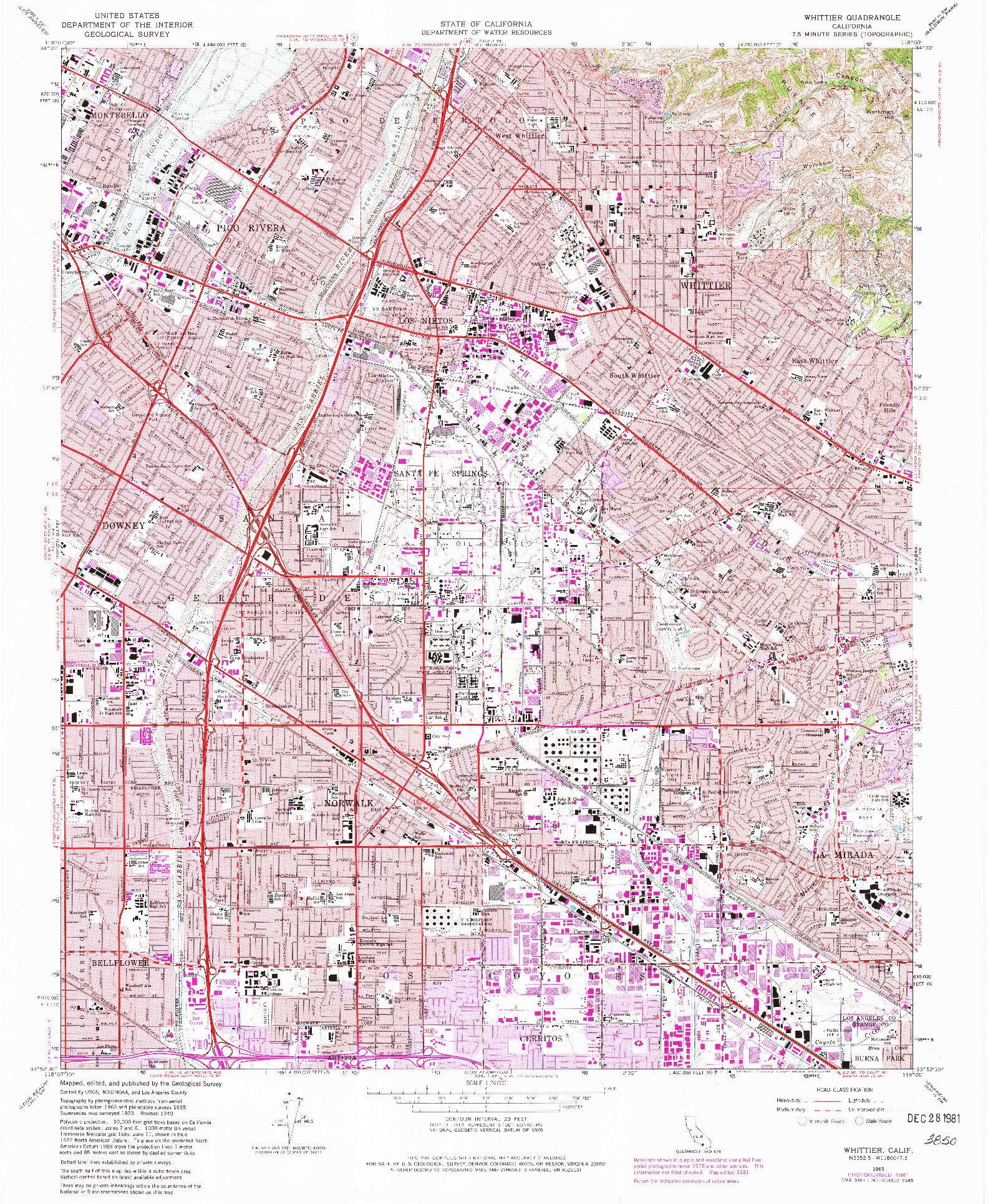 USGS 1:24000-SCALE QUADRANGLE FOR WHITTIER, CA 1965