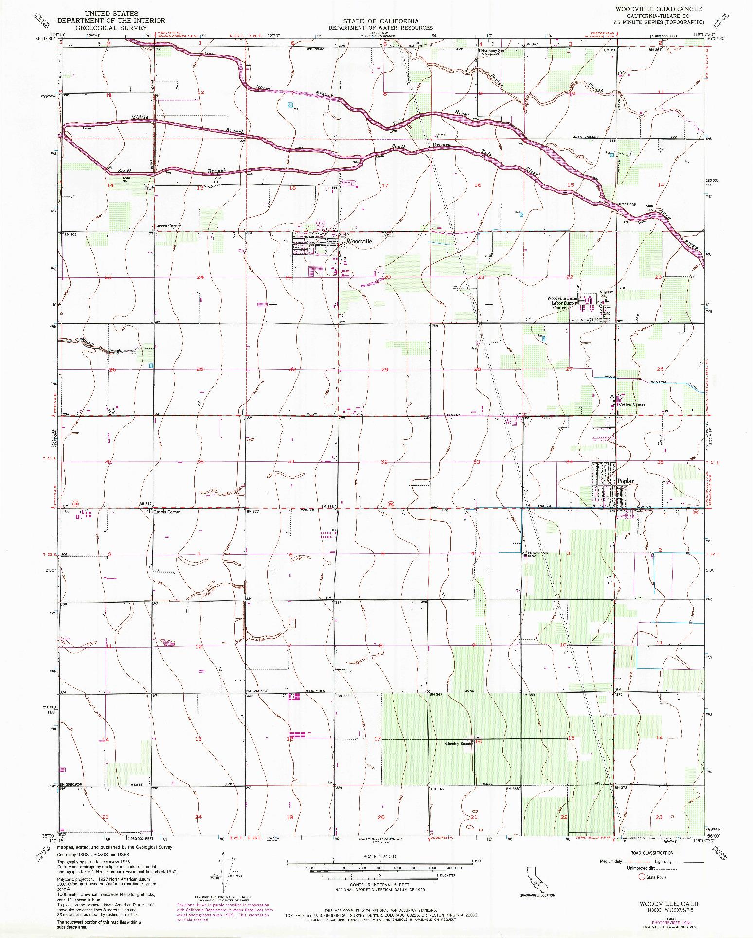 USGS 1:24000-SCALE QUADRANGLE FOR WOODVILLE, CA 1950